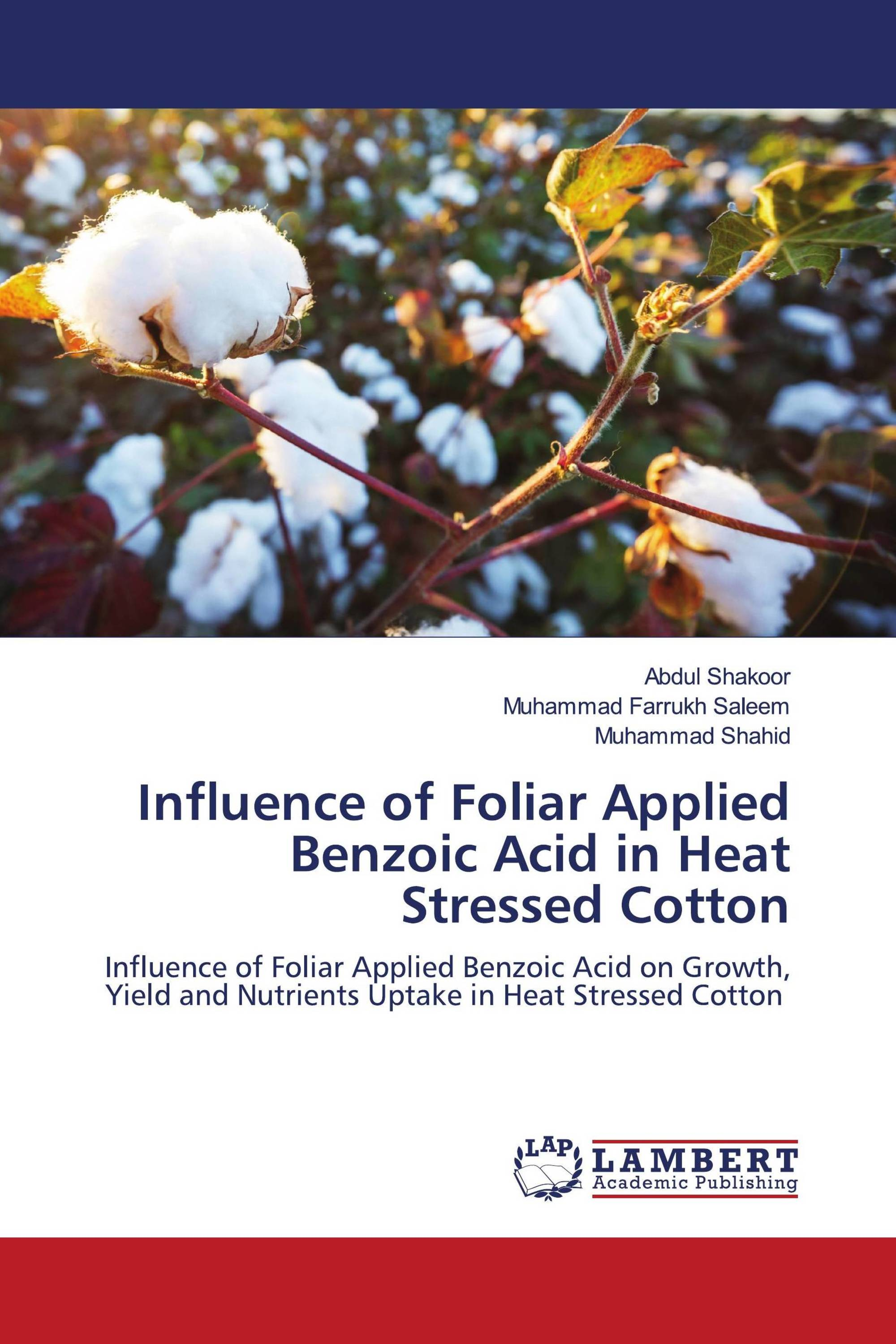 Influence of Foliar Applied Benzoic Acid in Heat Stressed Cotton