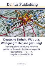 Deutsche Einheit. Was u.a. Wolfgang Tiefensee gazu sagt