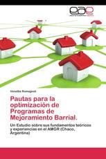 Pautas para la optimización de Programas de Mejoramiento Barrial.