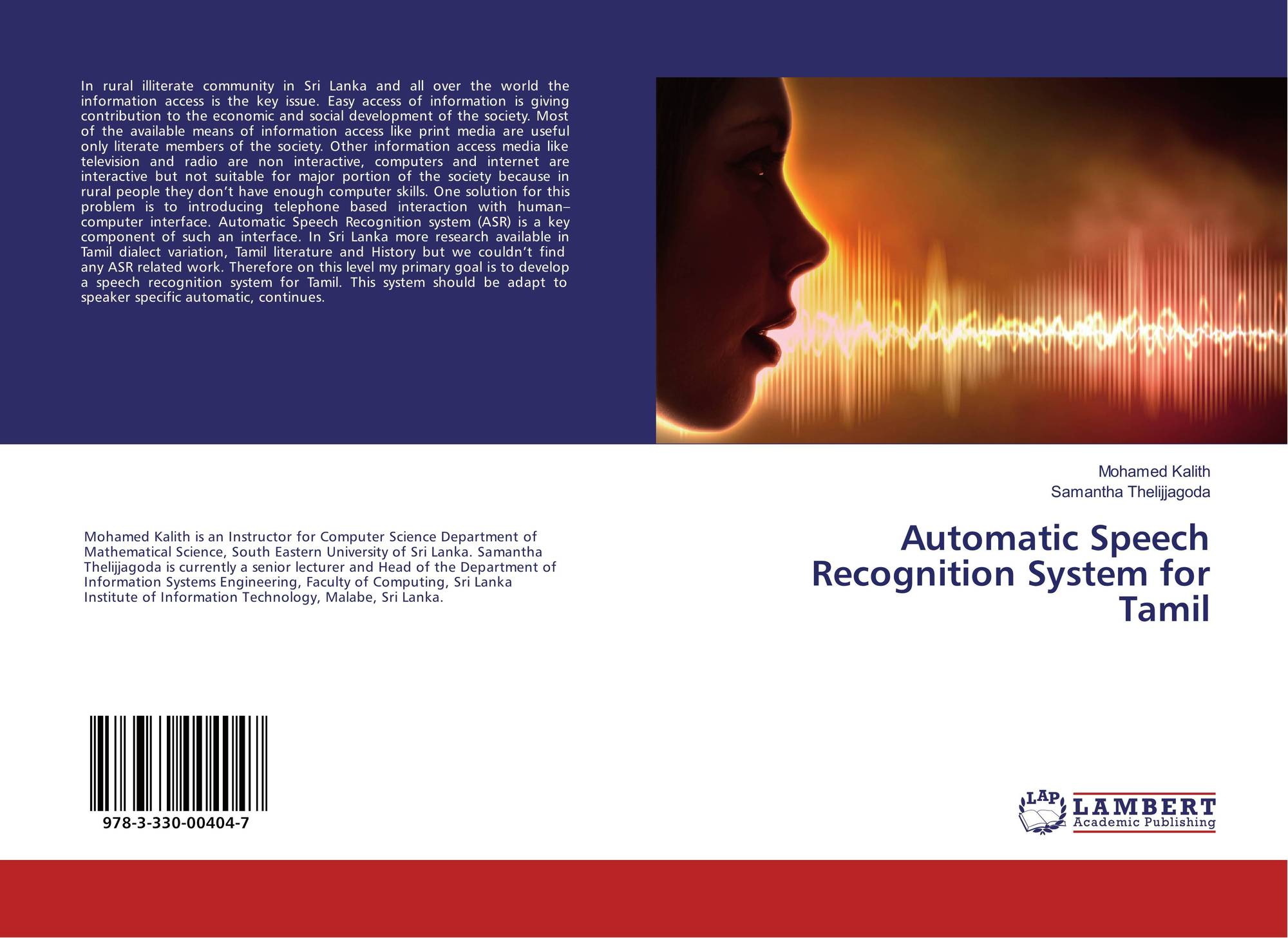 Automatic Speech Recognition System for Tamil, 978-3-330-00404-7