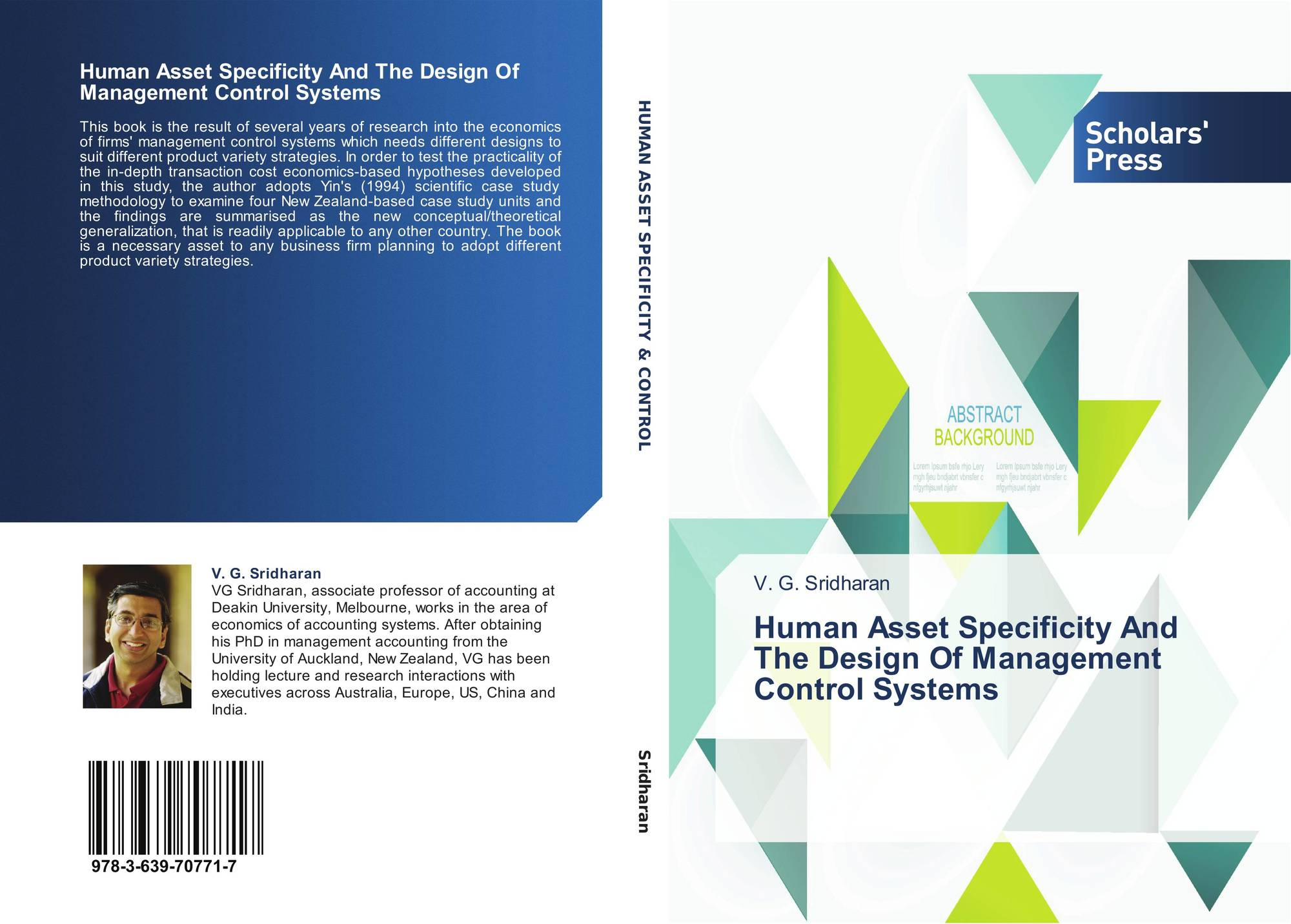 Human Asset Specificity And The Design Of Management Control Systems 978 3 639 70771 7 3639707710 9783639707717 By V G Sridharan
