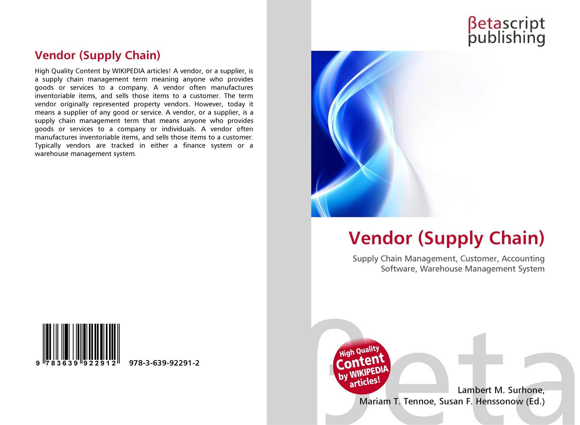 Vendor (Supply Chain), 978-3-639-92291-2, 3639922913
