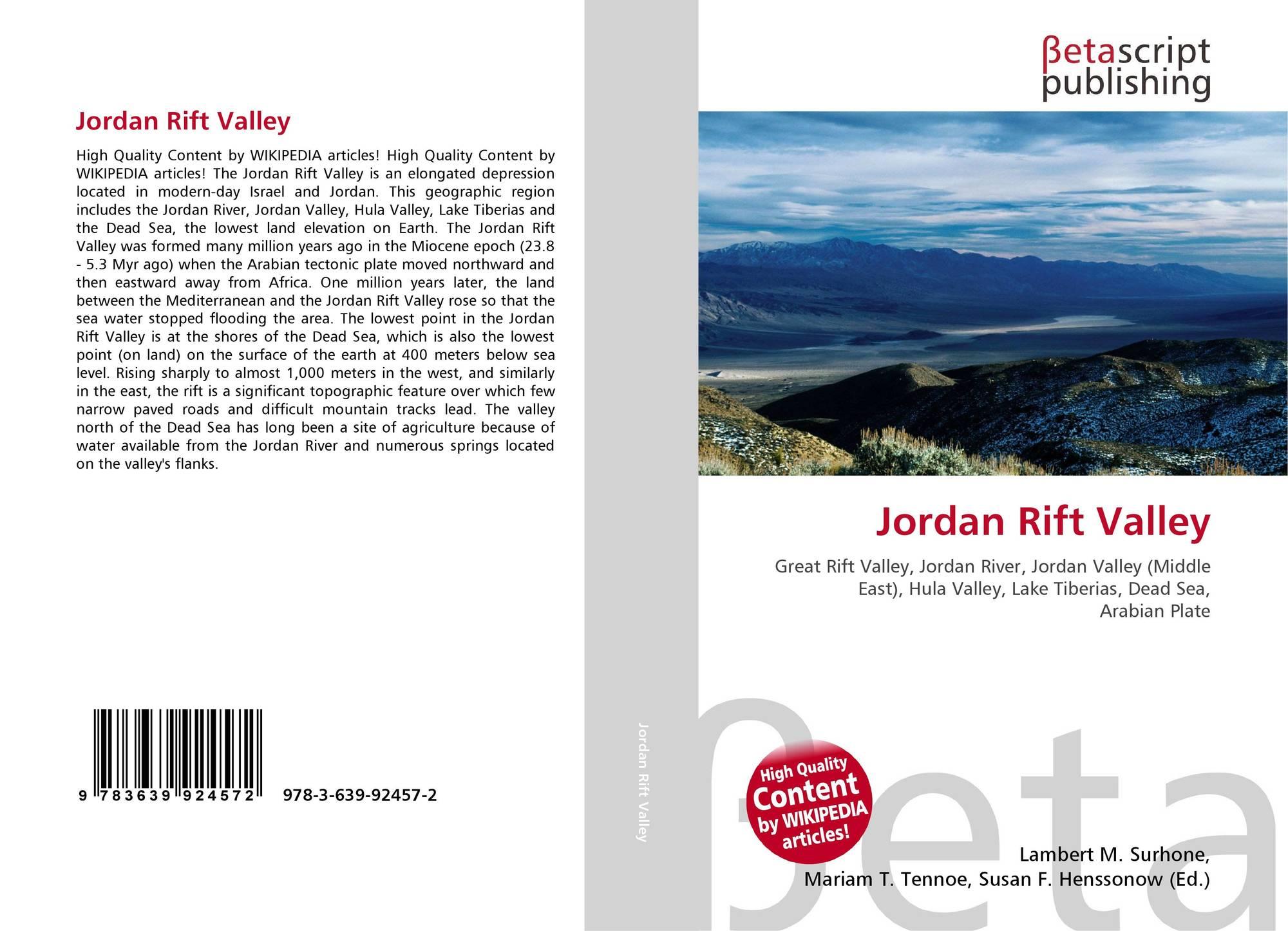 Jordan Rift Valley, 978 3 639 92457 2, 3639924576 ,9783639924572