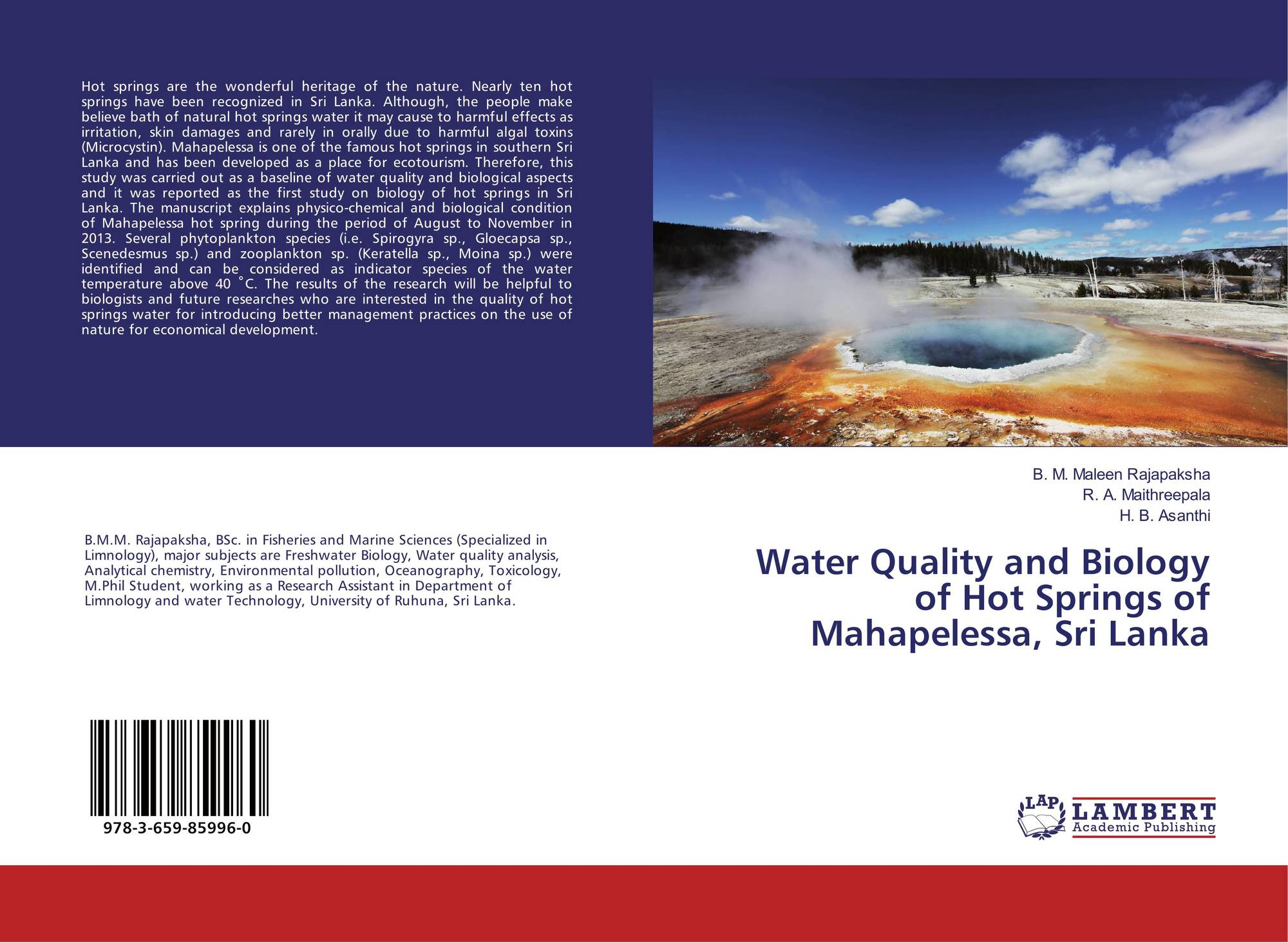 Water Quality and Biology of Hot Springs of Mahapelessa, Sri