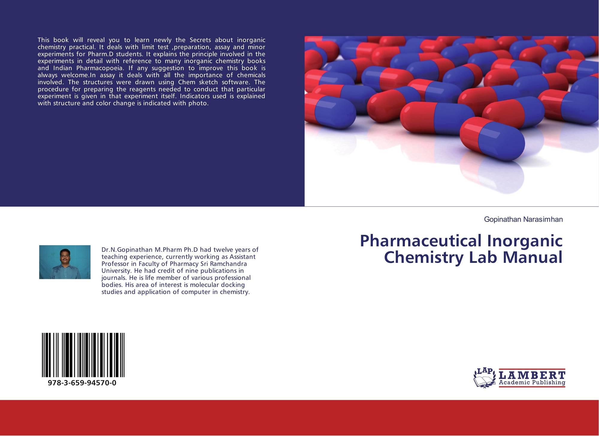 pharmaceutical inorganic chemistry lab manual 978 3 659 94570 0 rh morebooks de Organic Chemistry Lab Clinical Chemistry Laboratory Manual