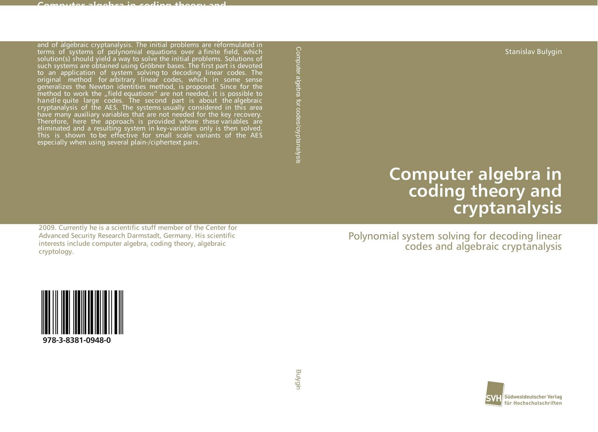 Computer algebra in coding theory and cryptanalysis, 978-3