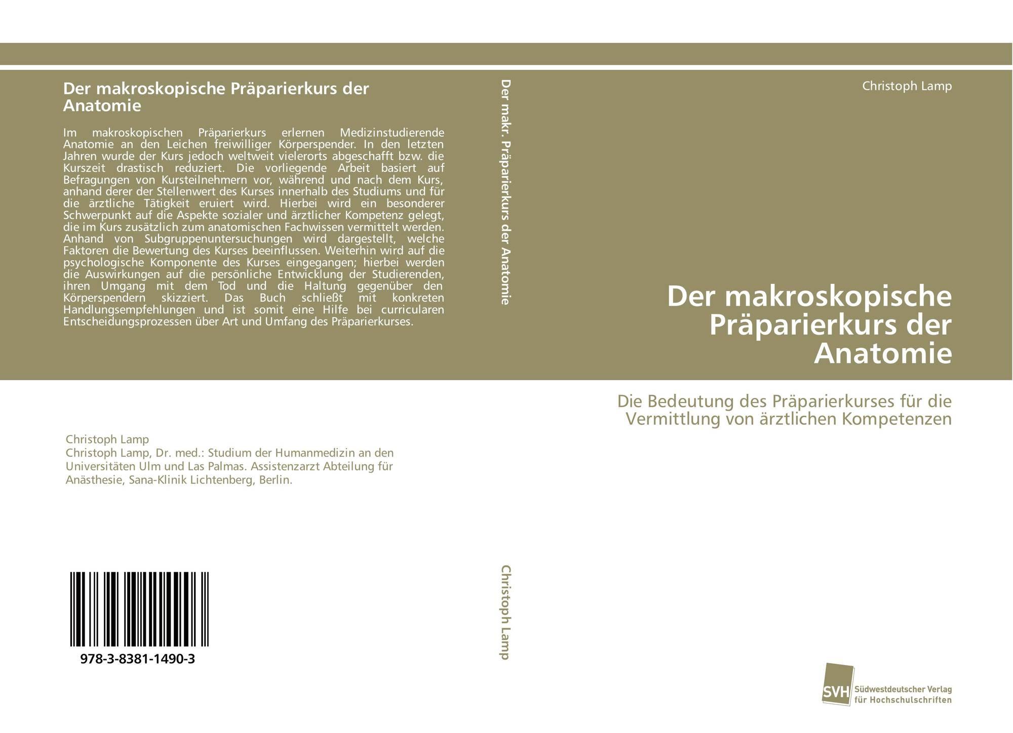 Der makroskopische Präparierkurs der Anatomie, 978-3-8381-1490-3 ...