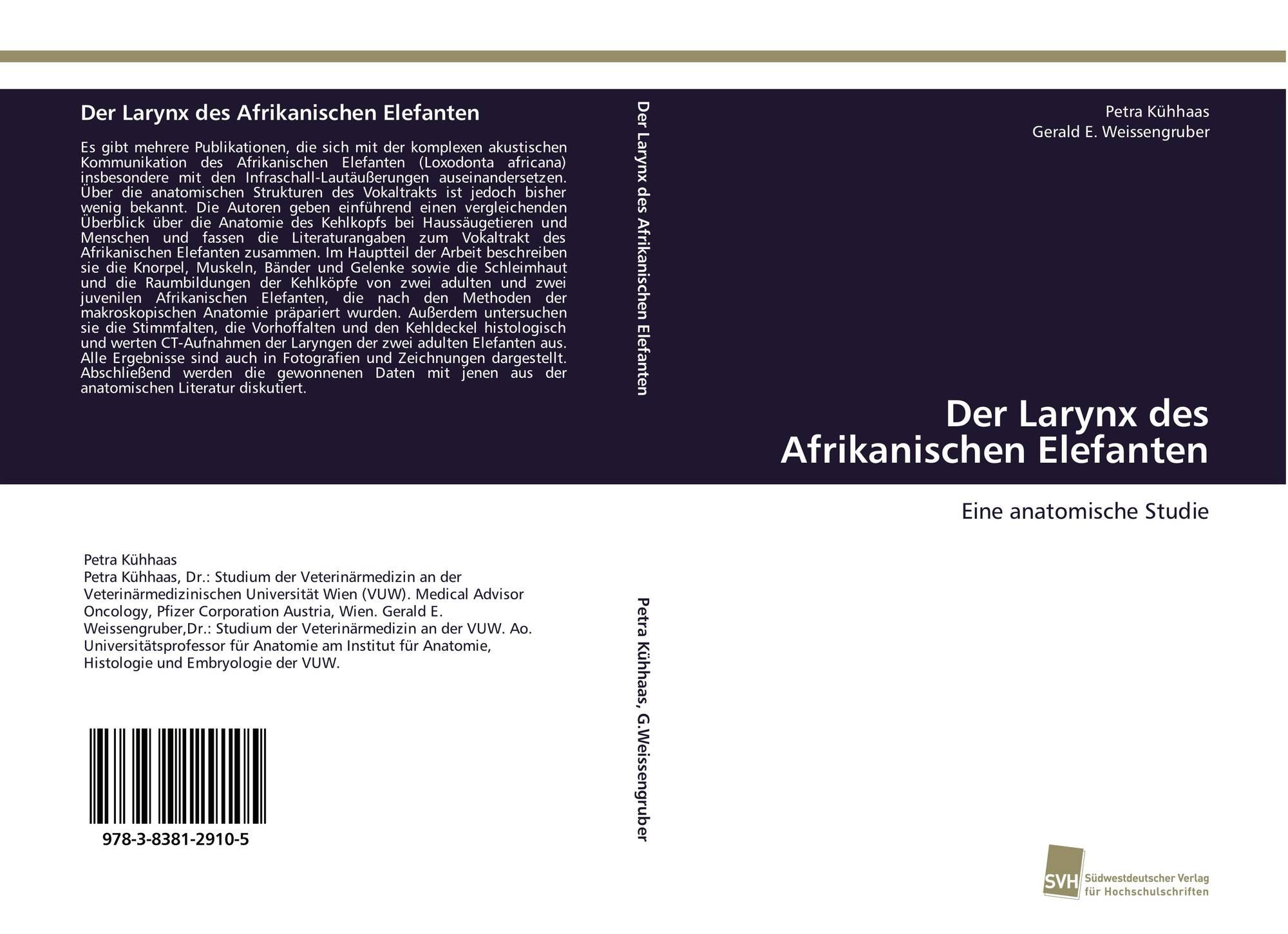 Der Larynx des Afrikanischen Elefanten, 978-3-8381-2910-5 ...