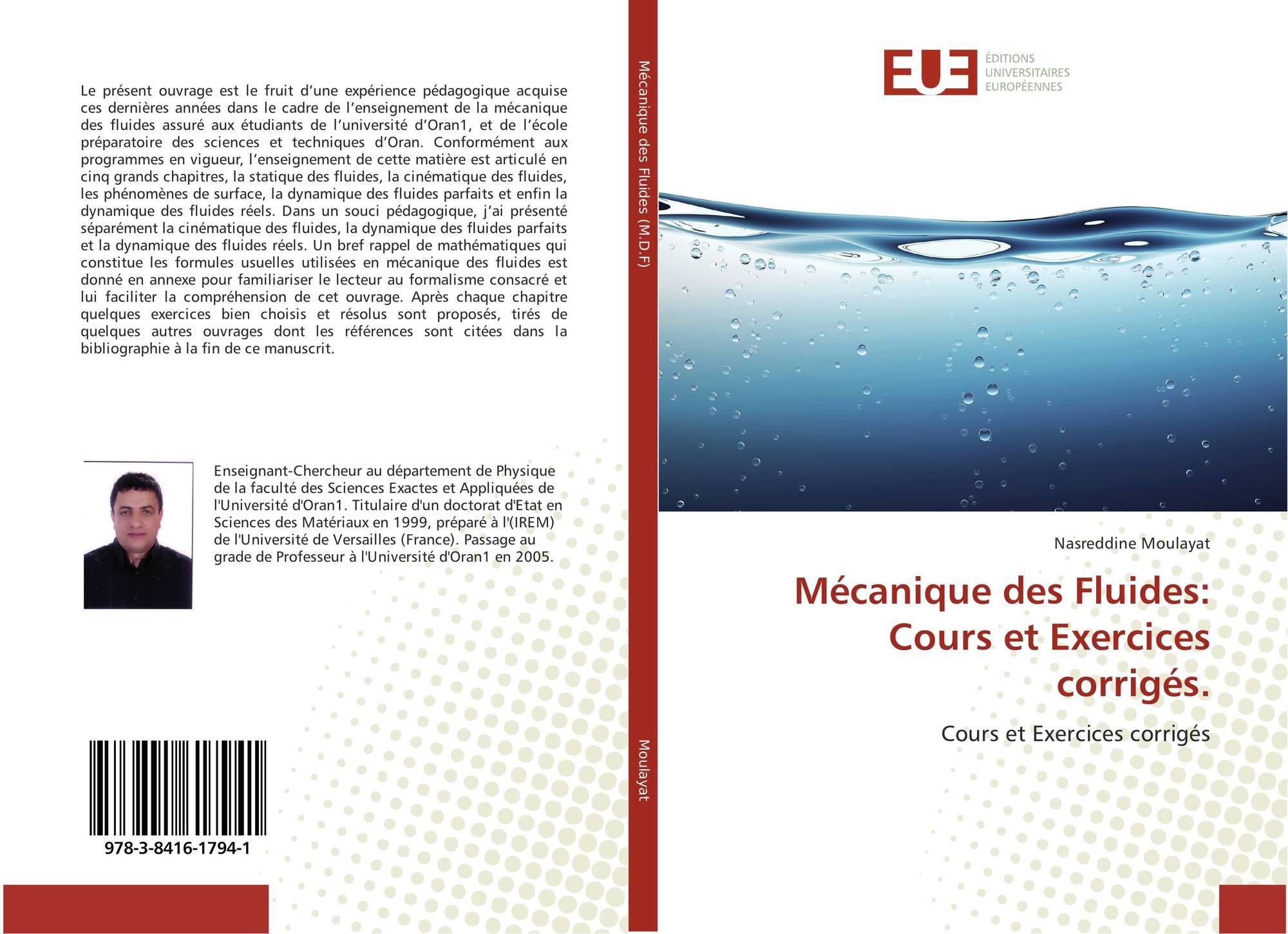 Mécanique des Fluides: Cours et Exercices corrigés., 978-3 ...