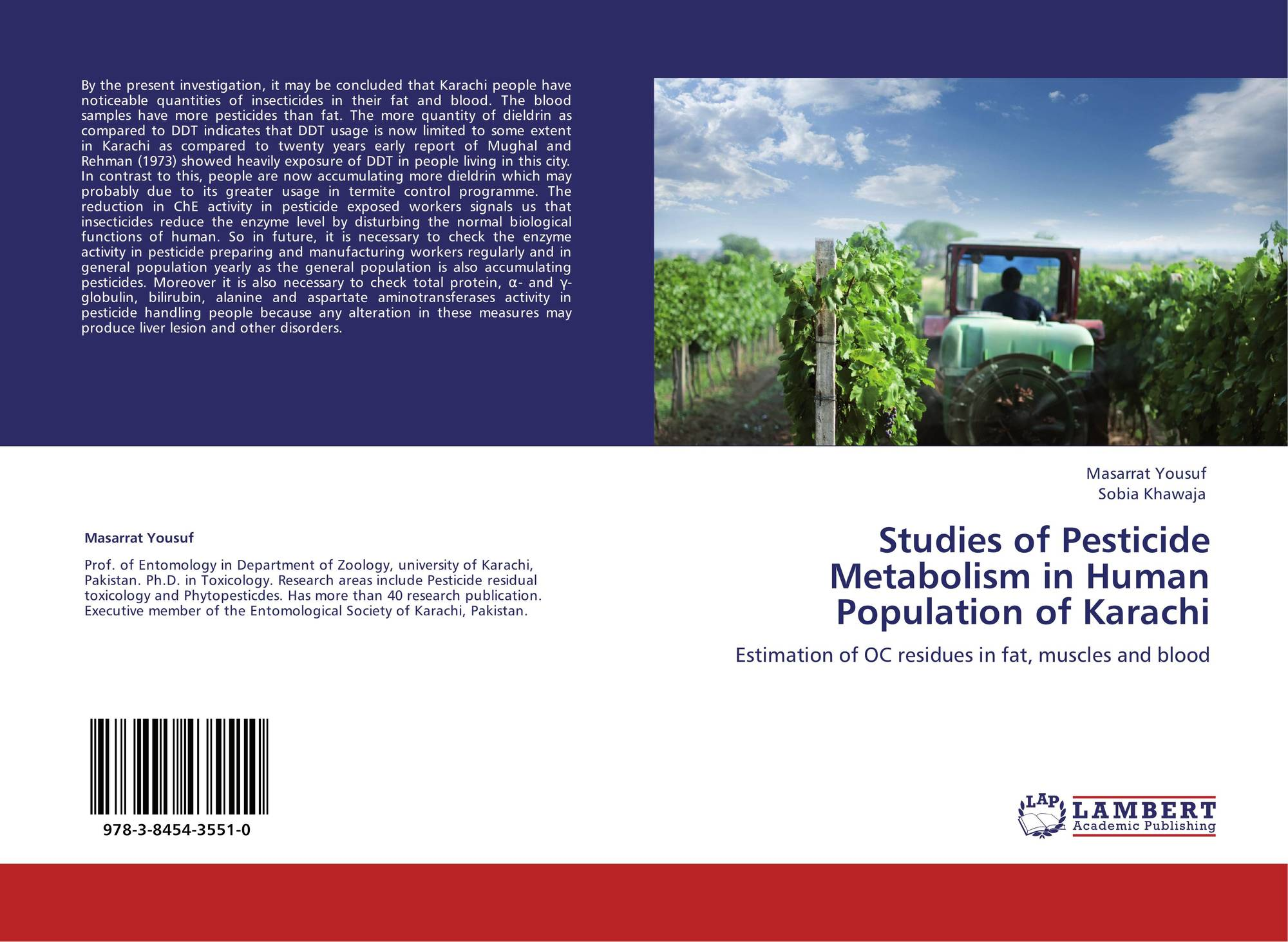 Studies of Pesticide Metabolism in Human Population of Karachi, 978
