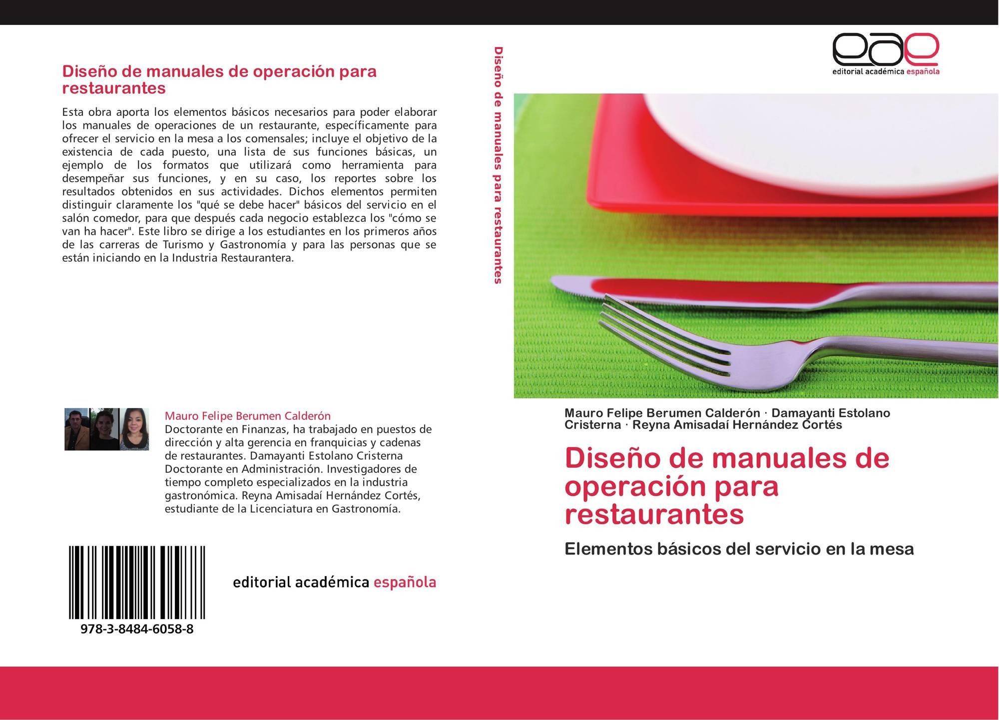 Dise o de manuales de operaci n para restaurantes 978 3 for Ejemplo de manual de procedimientos de un restaurante
