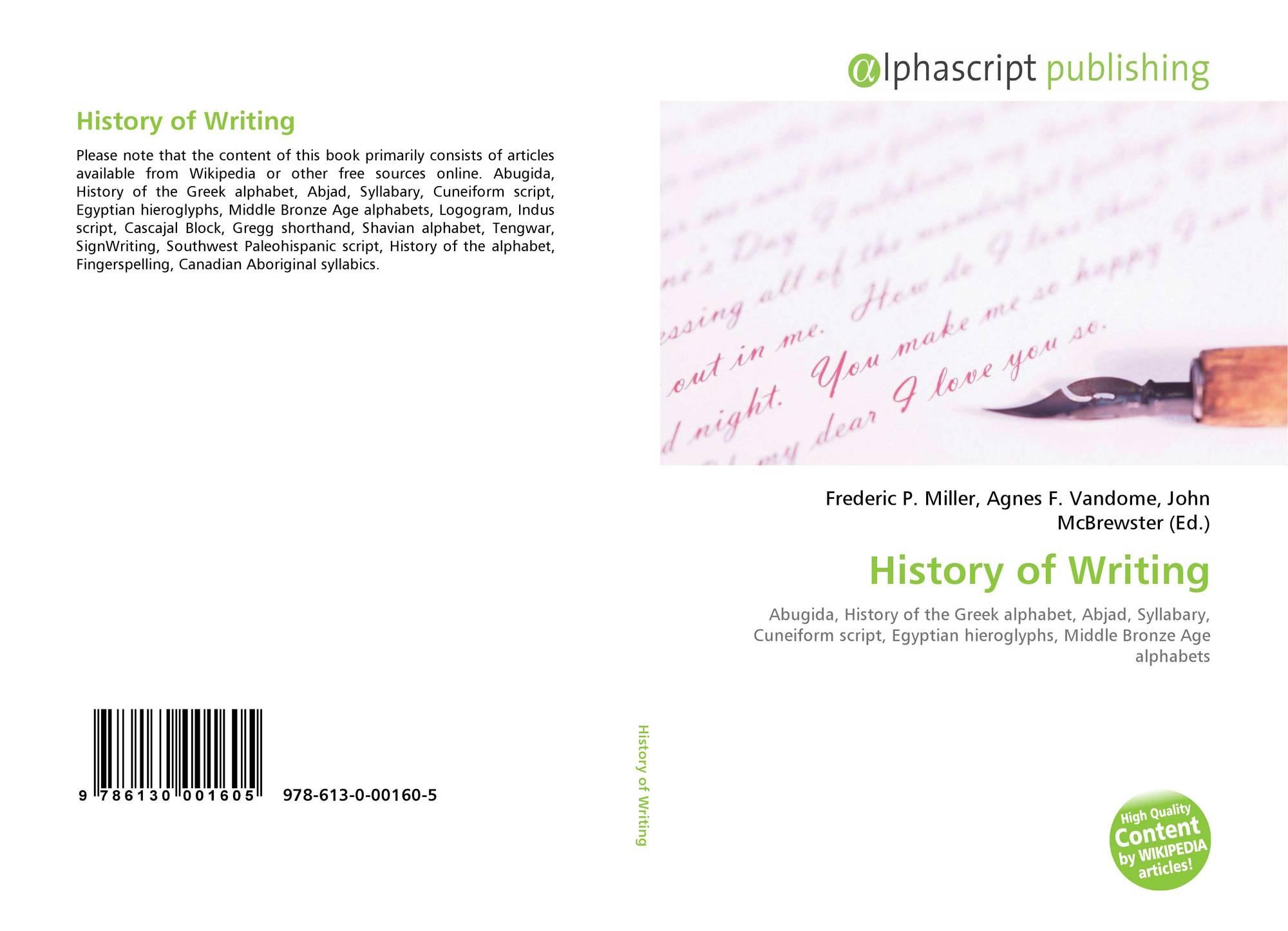 History of Writing, 978-613-0-00160-5, 6130001606 ,9786130001605