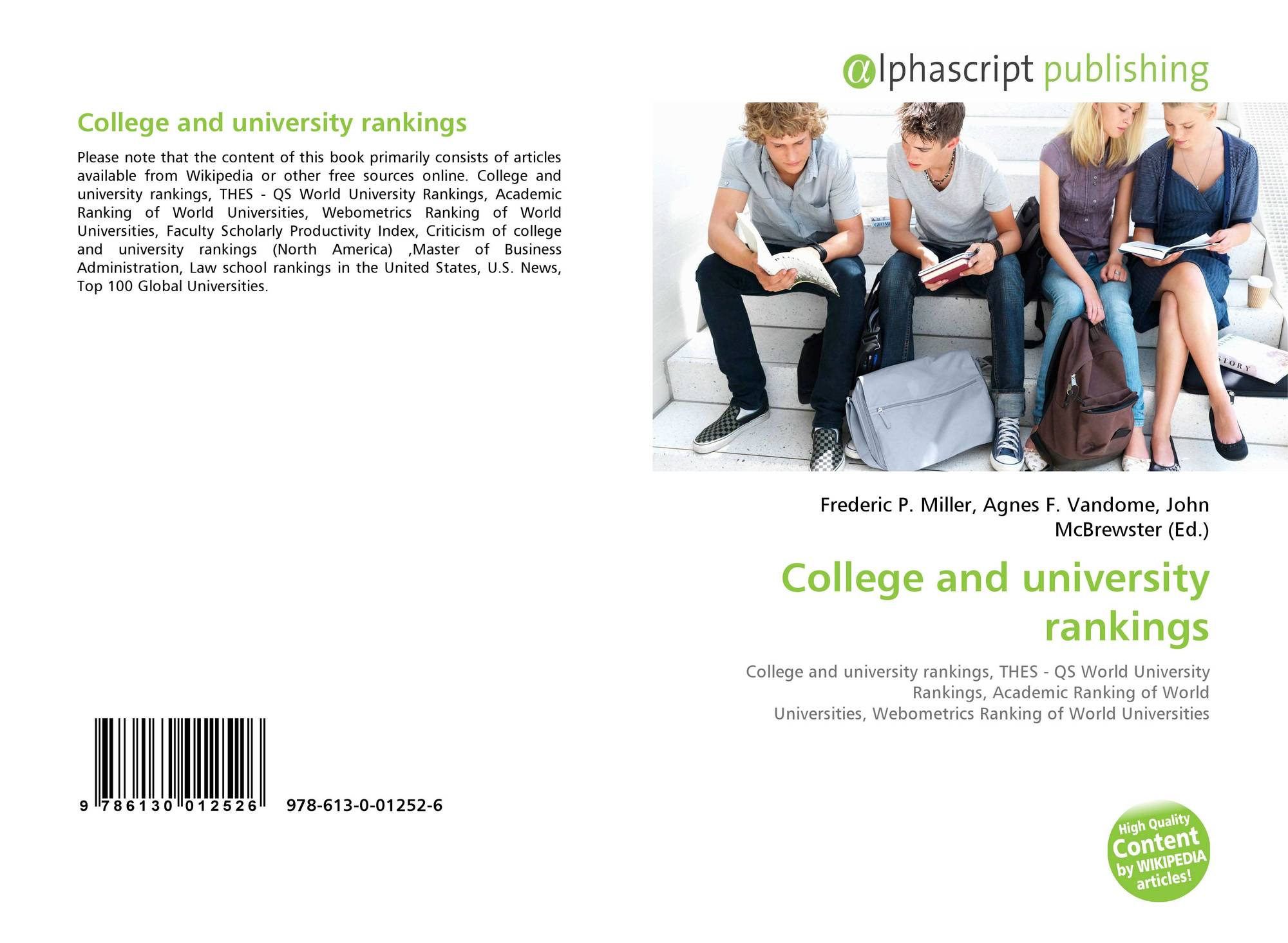 College and university rankings, 978-613-0-01252-6, 6130012527