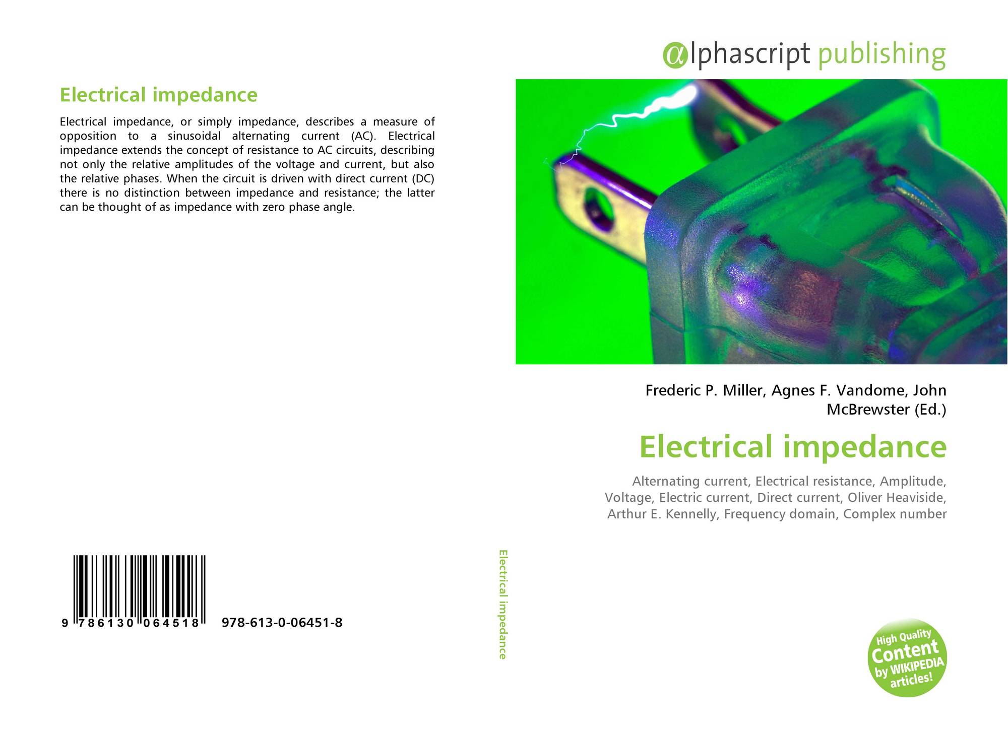 Electrical Impedance 978 613 0 06451 8 6130064519 9786130064518 Circuits Dc Or Direct Current And Ac Alternating In A Bookcover Of