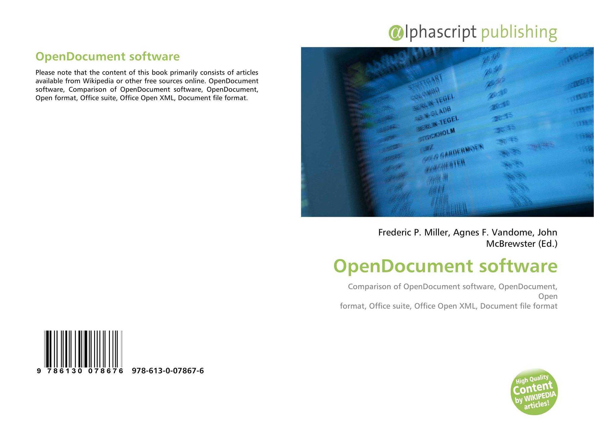 OpenDocument software, 978-613-0-07867-6, 6130078676 ,9786130078676