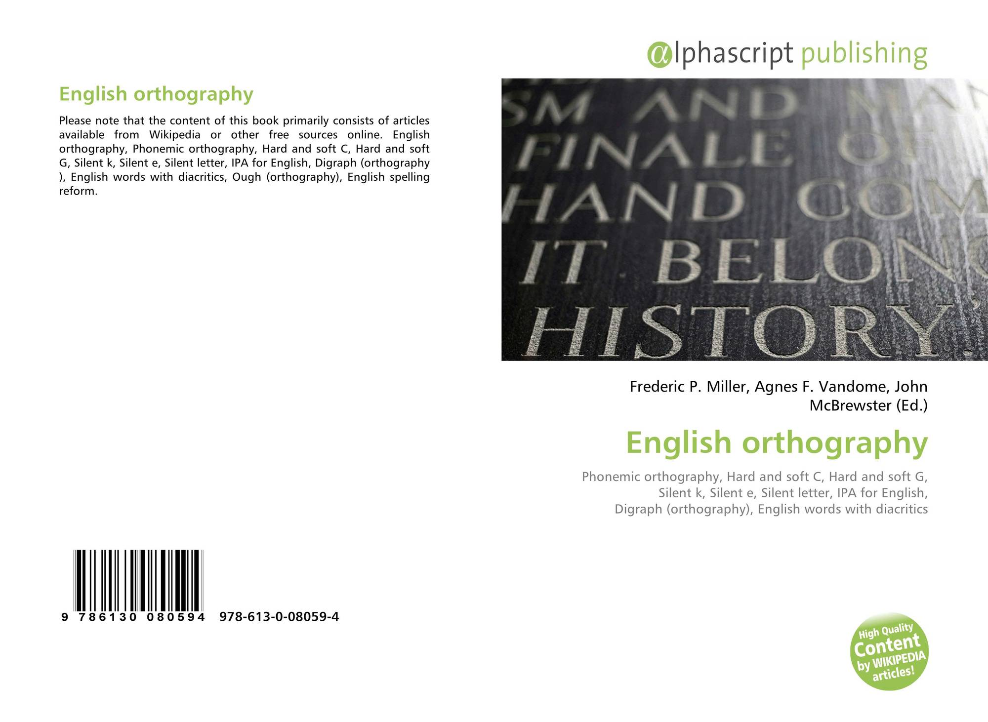 English Orthography 978 613 0 08059 4 613008059x 9786130080594