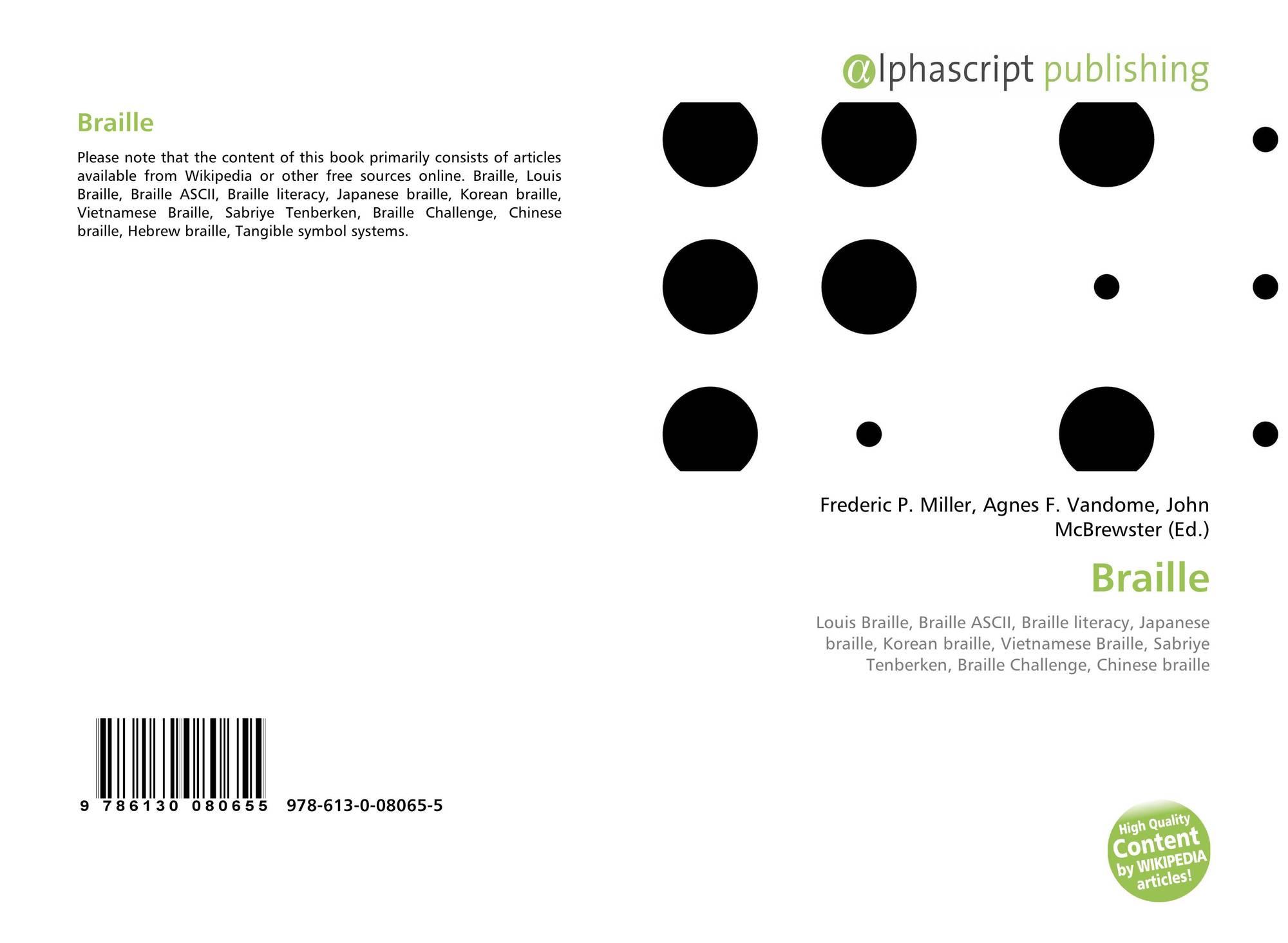 Braille, 978-613-0-08065-5, 6130080654 ,9786130080655