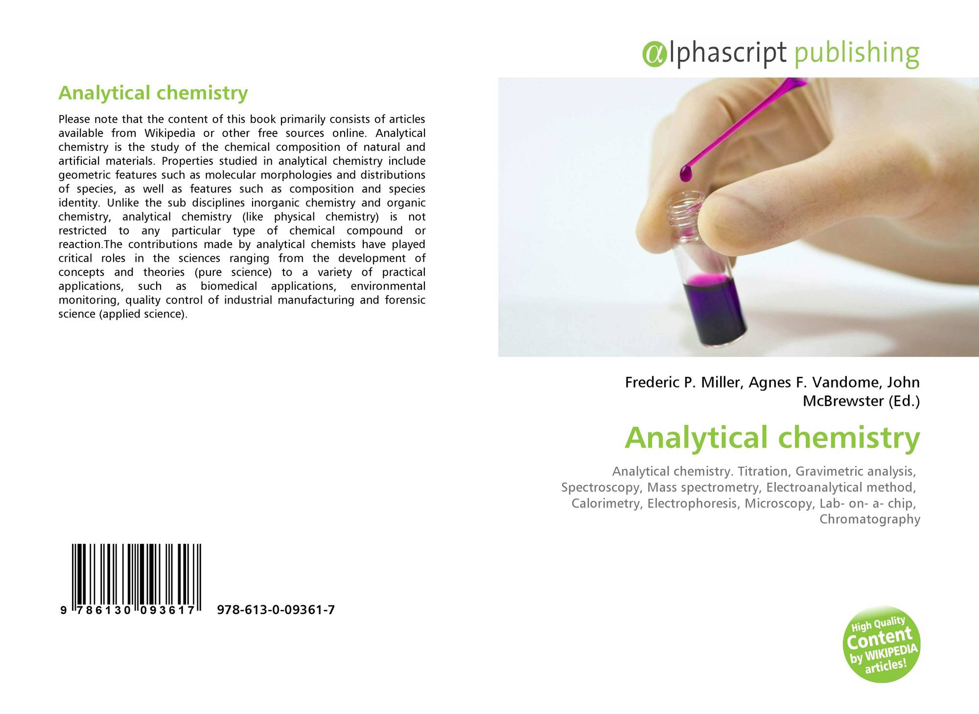 Analytical chemistry, 978-613-0-09361-7, 6130093616 ,9786130093617