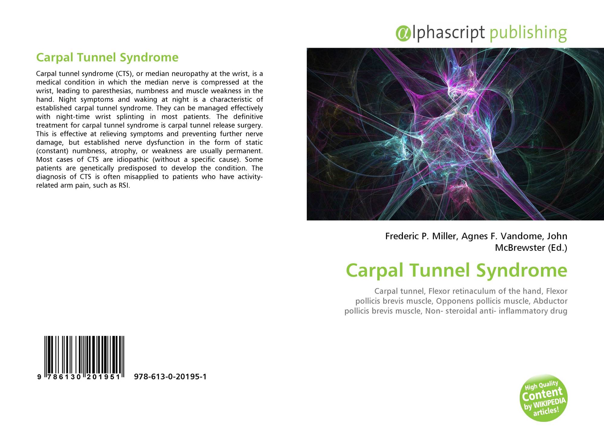 Carpal Tunnel Syndrome 978 613 0 20195 1 6130201958 9786130201951