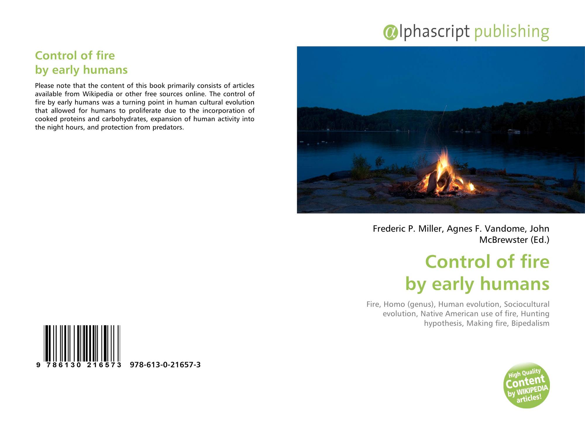 Control of fire by early humans, 978-613-0-21657-3, 6130216572  ,9786130216573