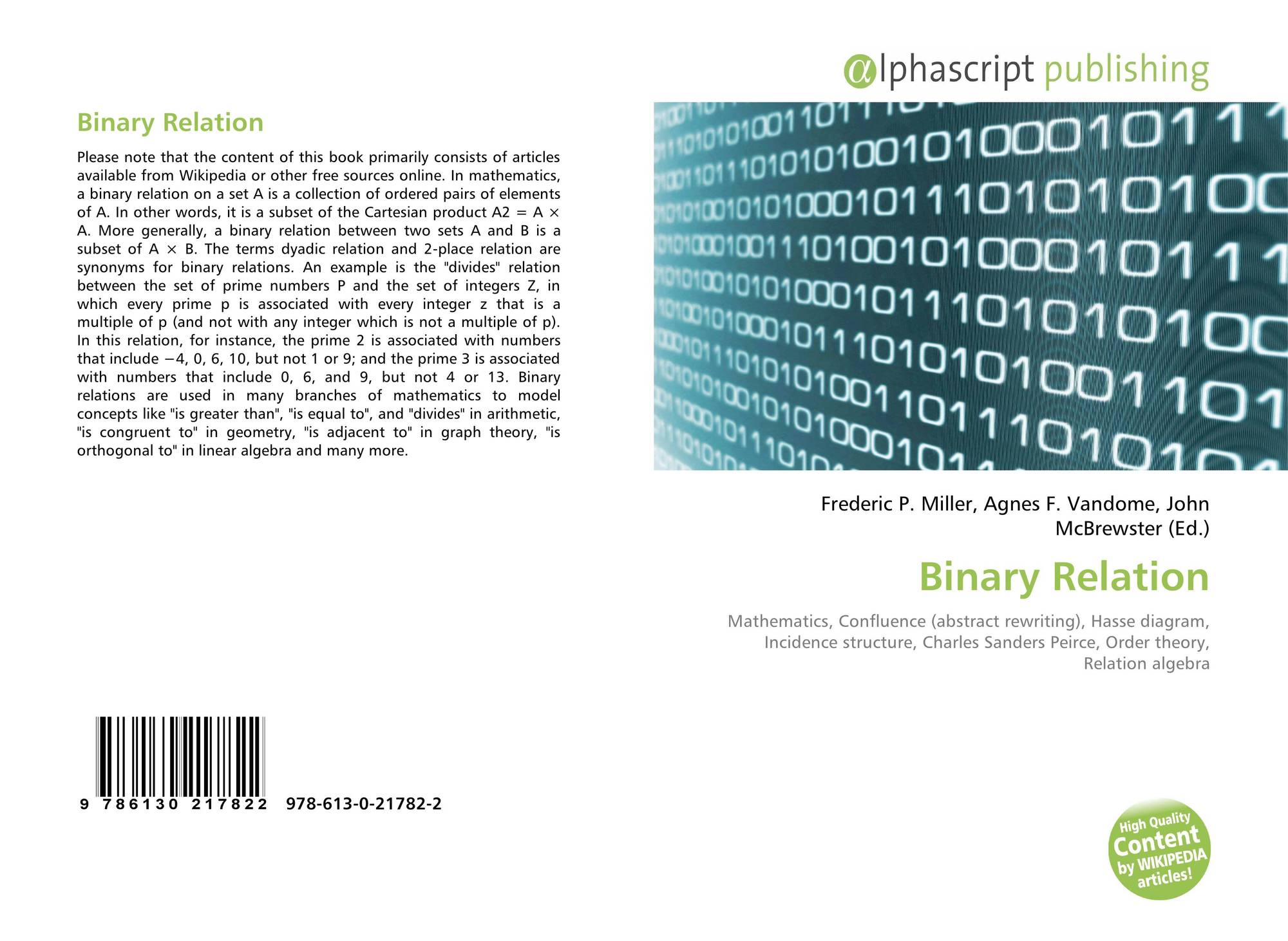 Binary relation 978 613 0 21782 2 613021782x 9786130217822 bookcover of binary relation ccuart Images