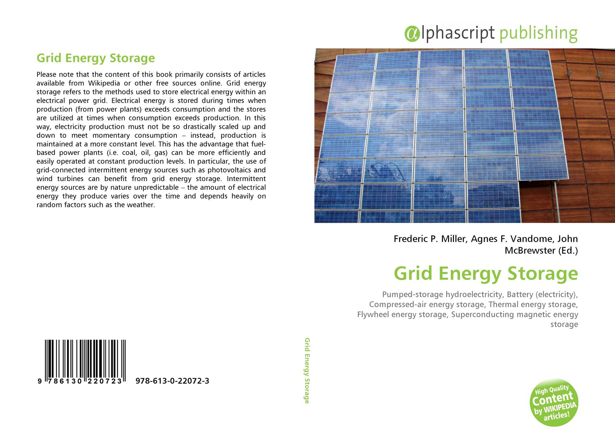 Grid Energy Storage, 978-613-0-22072-3, 6130220723