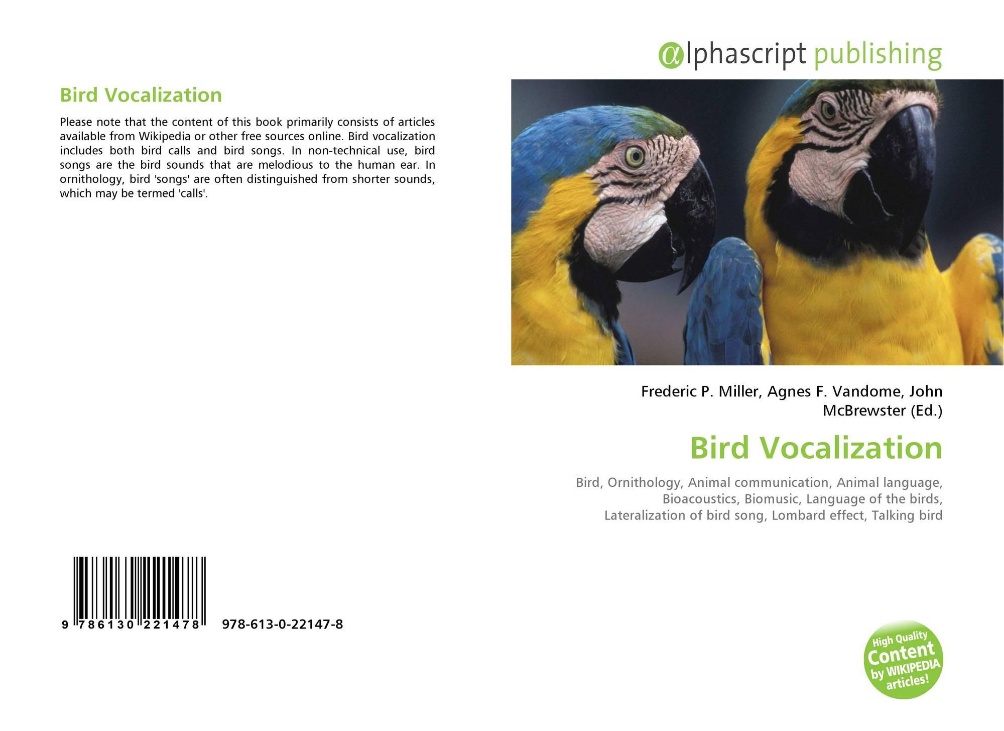 Bird Vocalization, 978-613-0-22147-8, 6130221479 ,9786130221478