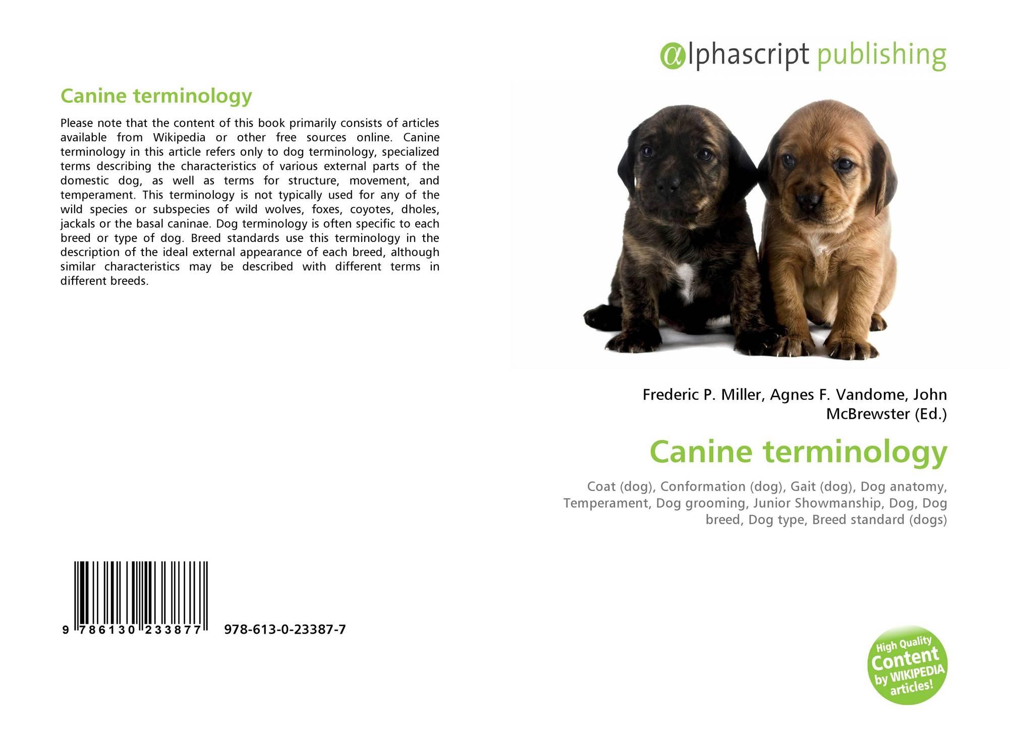 Canine terminology, 978-613-0-23387-7, 6130233876 ,9786130233877