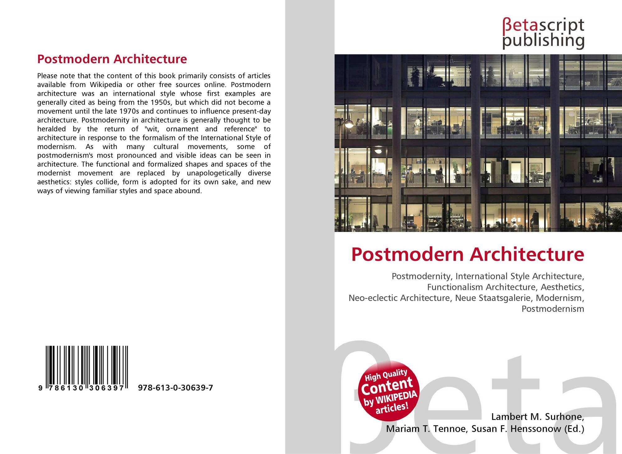 Postmodern Architecture 978 613 0 30639 7 6130306393 9786130306397