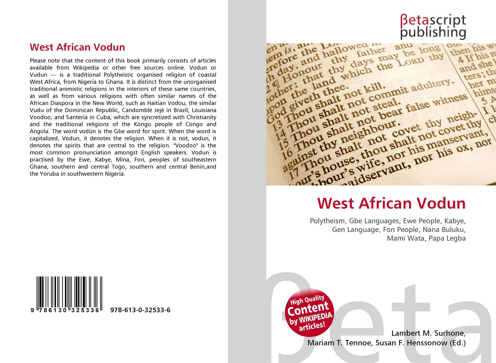 West African Vodun, 978-613-0-32533-6, 6130325339 ,9786130325336