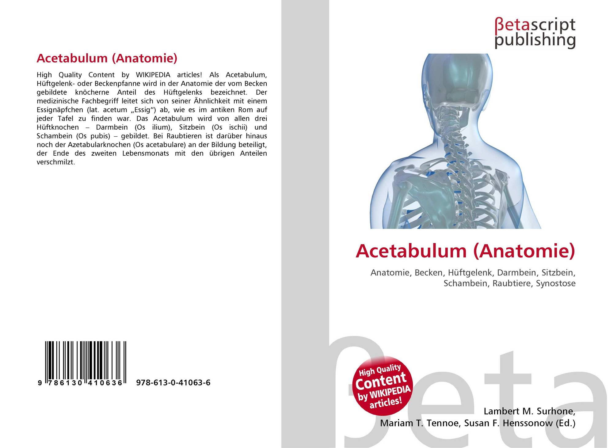 Acetabulum (Anatomie), 978-613-0-41063-6, 6130410638 ,9786130410636
