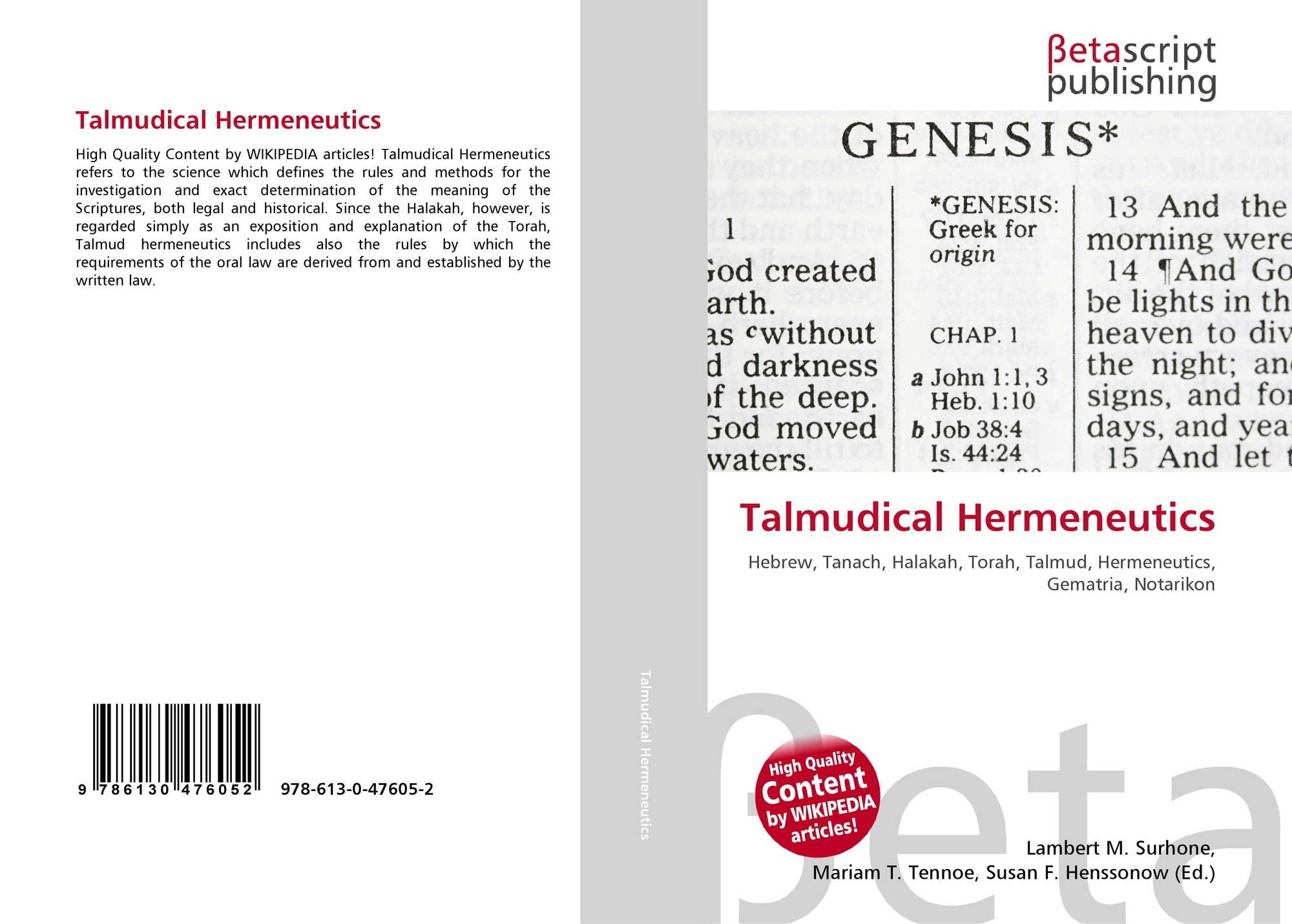 Talmudical Hermeneutics, 978-613-0-47605-2, 6130476051 ,9786130476052