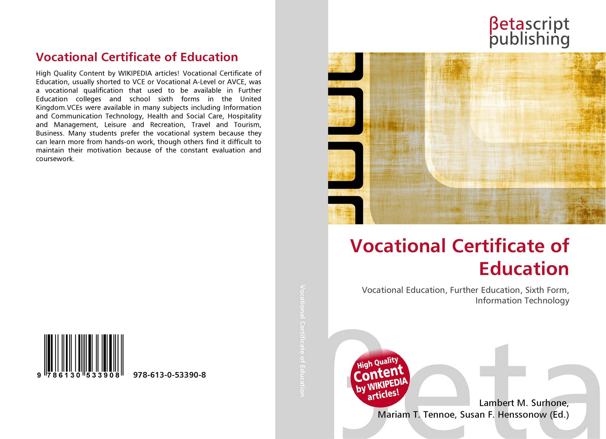 Vocational Certificate Of Education 978 613 0 53390 8 613053390x