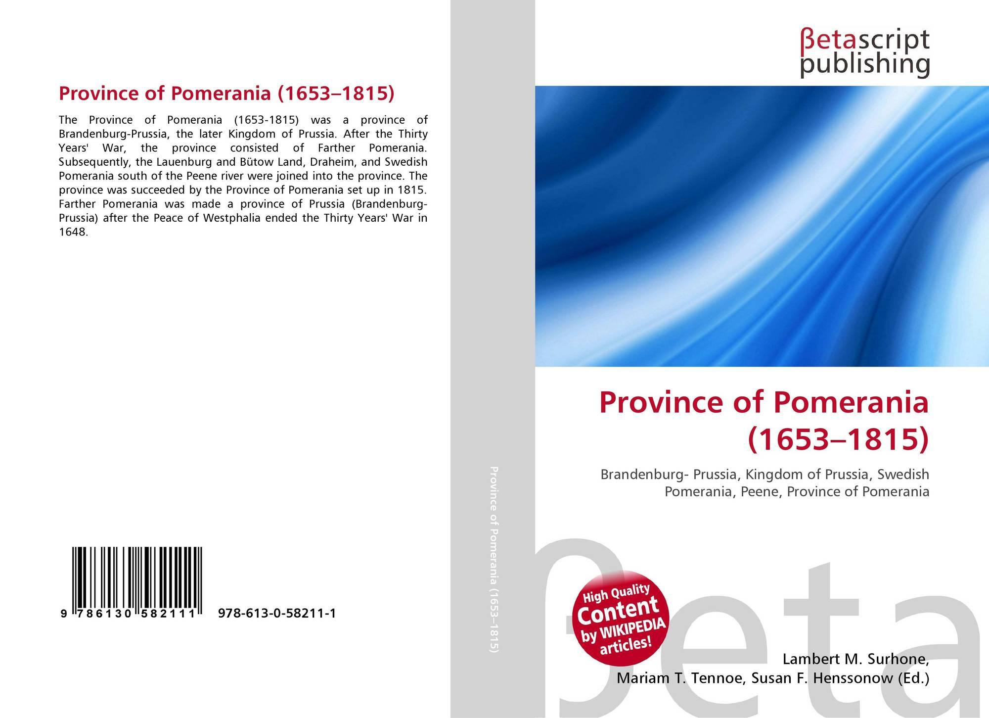 Province of Pomerania (1653–1815), 978-613-0-58211-1