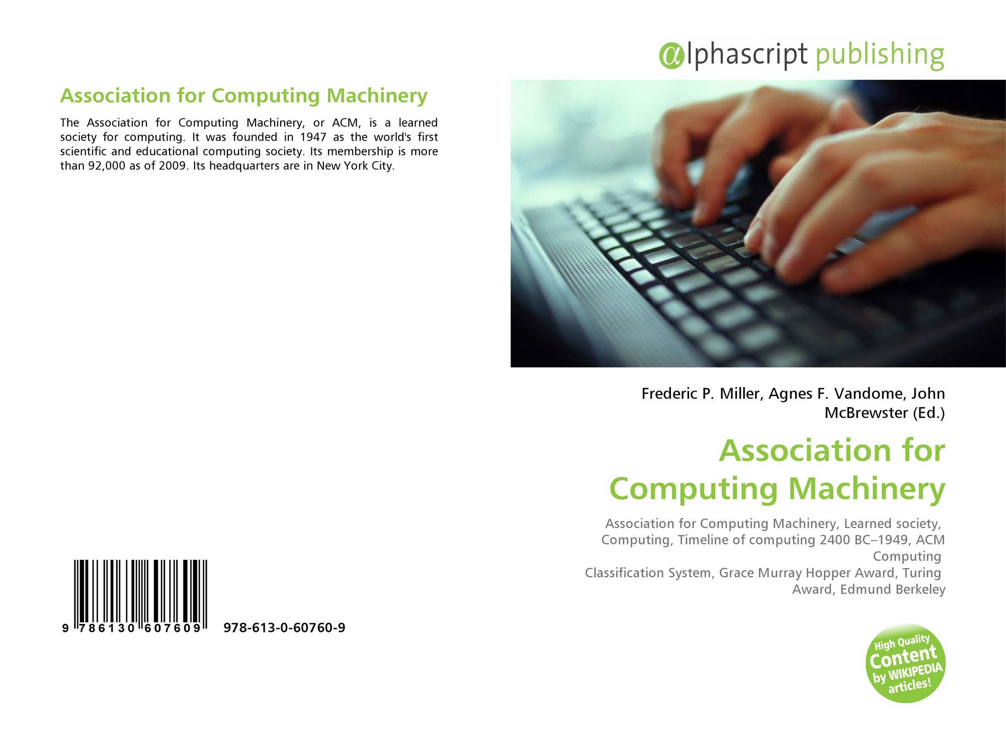 Association for Computing Machinery, 978-613-0-60760-9, 6130607601 ...