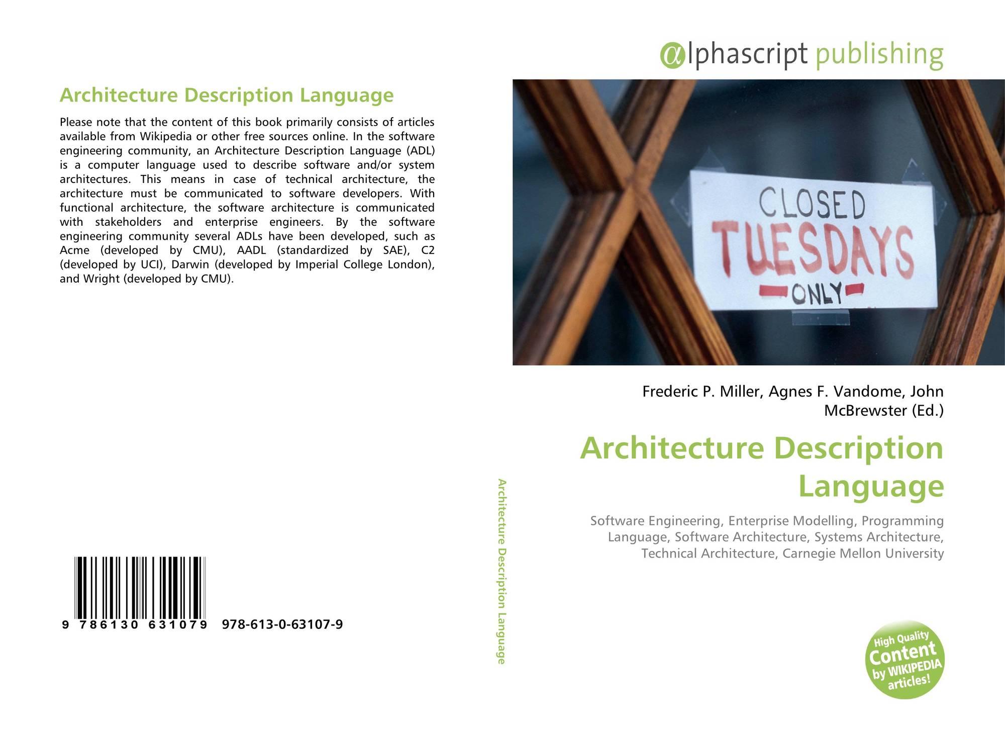 Architecture Description Language 978 613 0 63107 9 6130631073 9786130631079