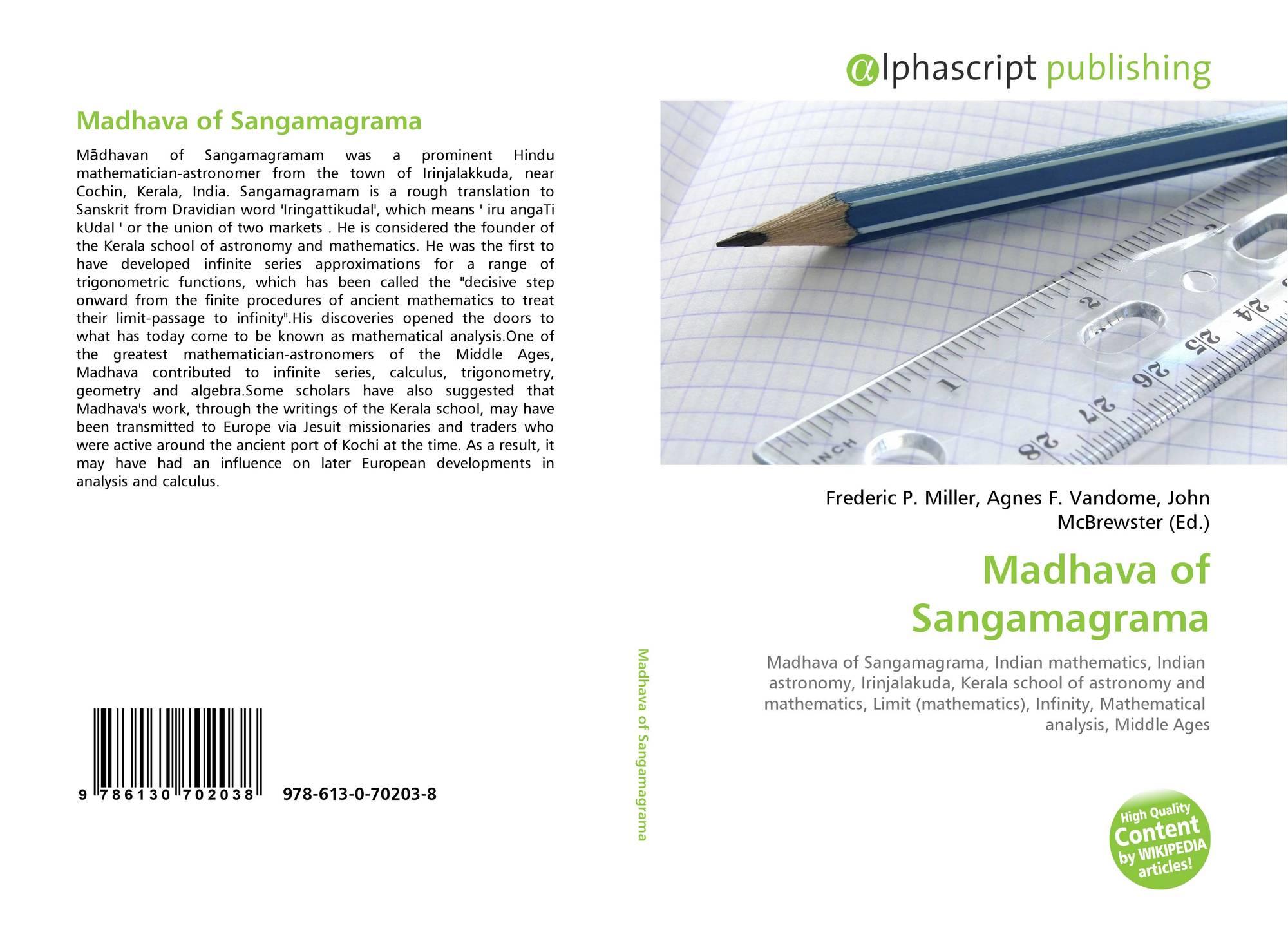 Madhava Sangamagrama Mathematician Madhava of Sangamagrama