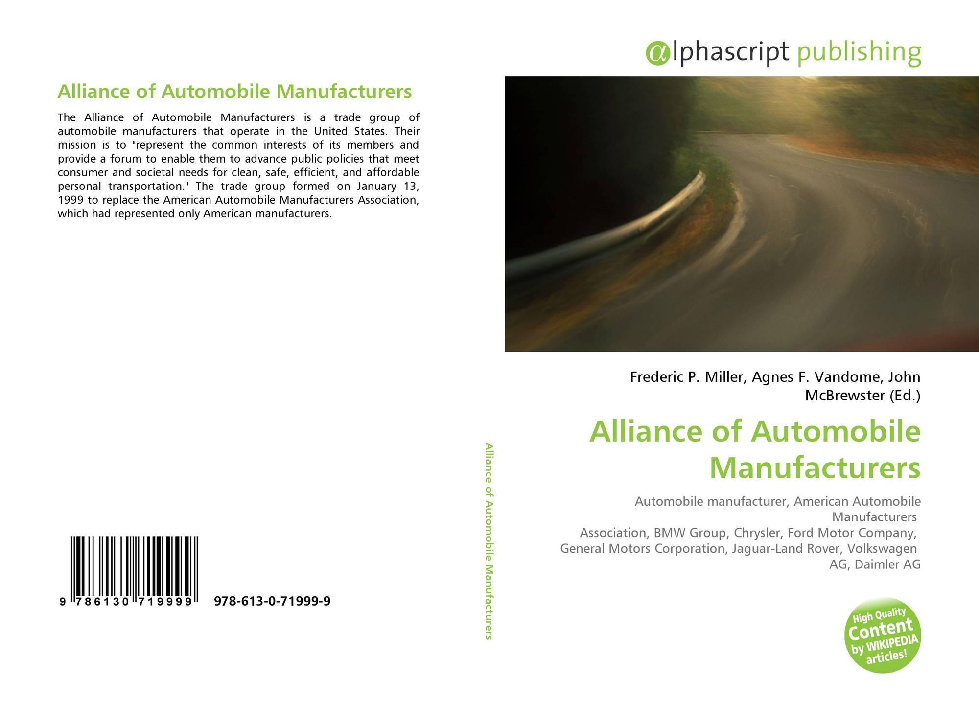 Alliance Of Automobile Manufacturers >> Alliance Of Automobile Manufacturers 978 613 0 71999 9
