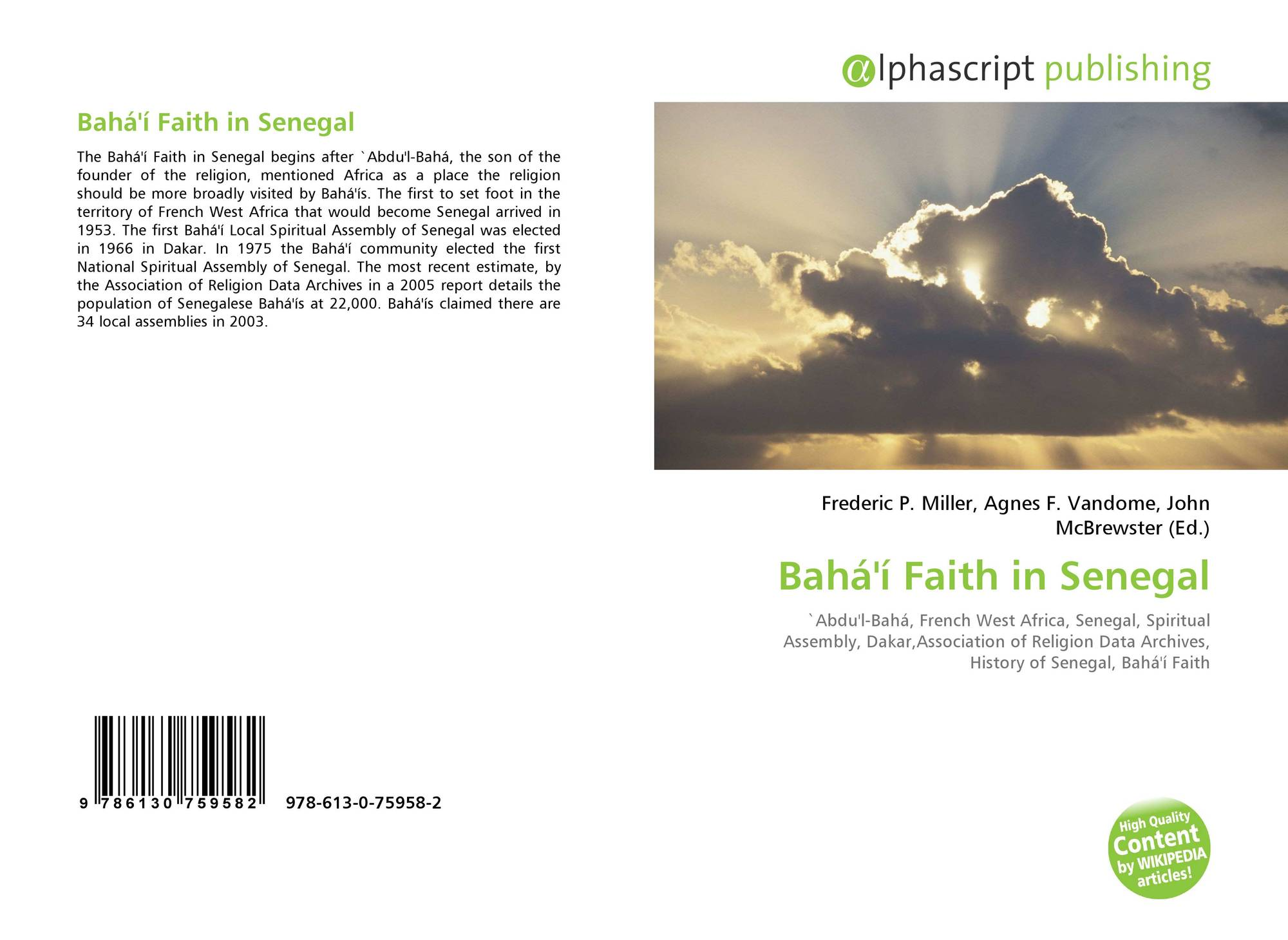Bahá'í Faith in Senegal, 978-613-0-75958-2, 6130759584 ,9786130759582