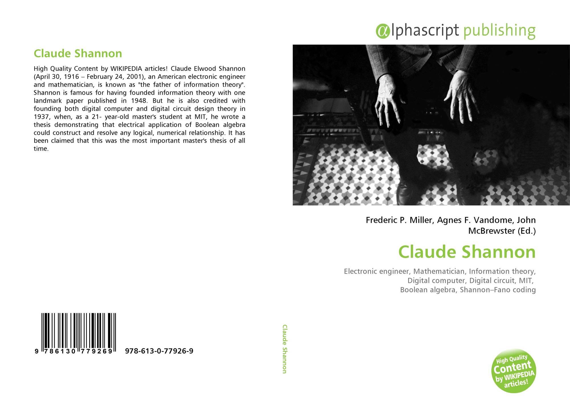 Claude Shannon, 978-613-0-77926-9, 6130779267 ,9786130779269