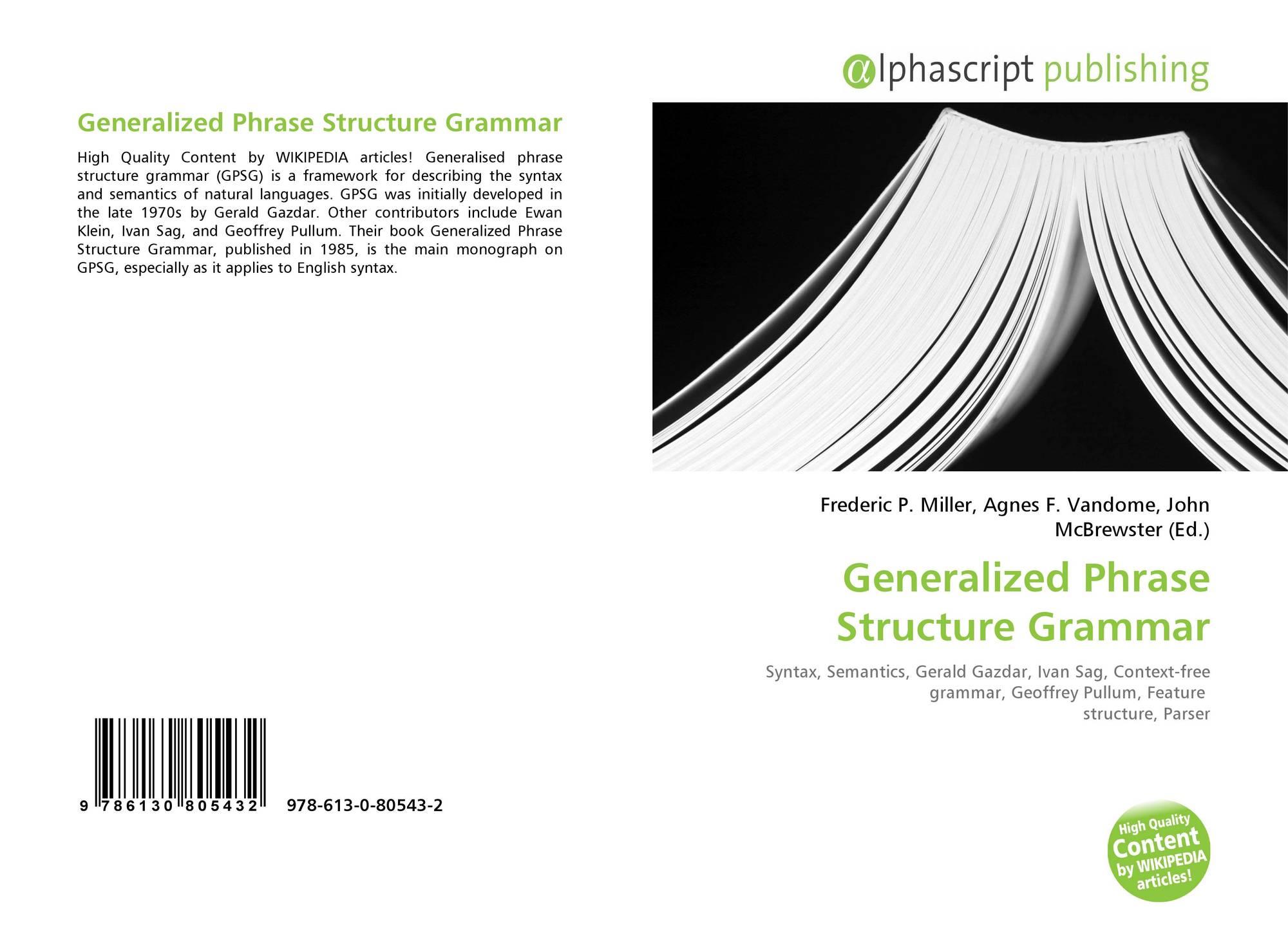 Generalized Phrase Structure Grammar, 978-613-0-80543-2