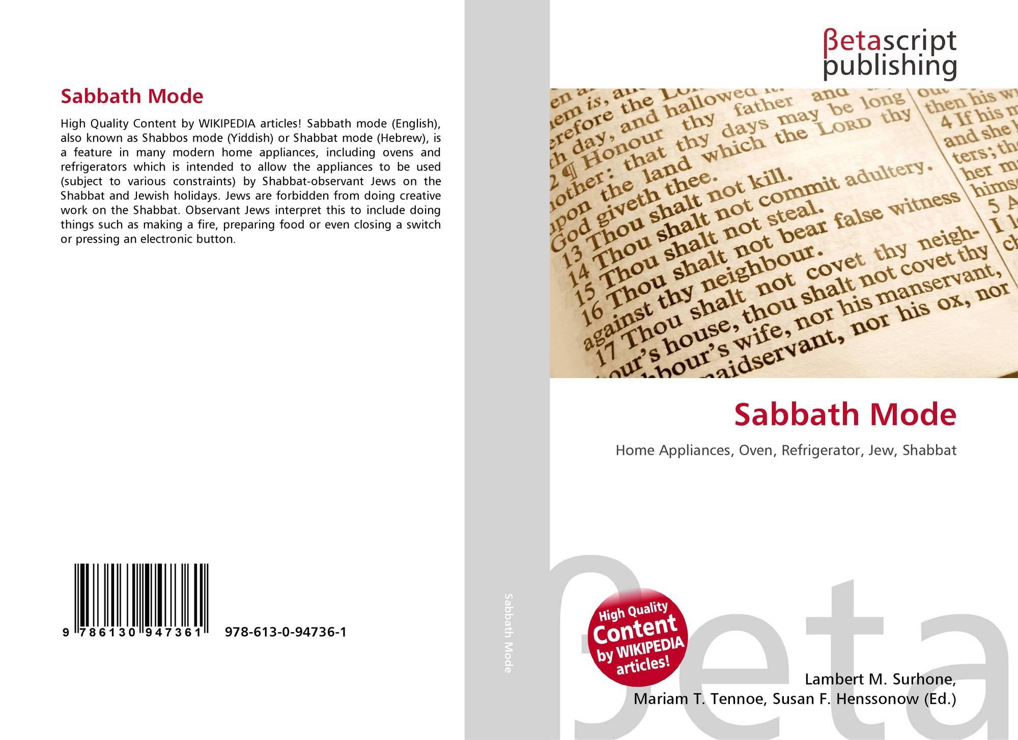 sabbath mode 978 613 0 94736 1 6130947364 9786130947361. Black Bedroom Furniture Sets. Home Design Ideas