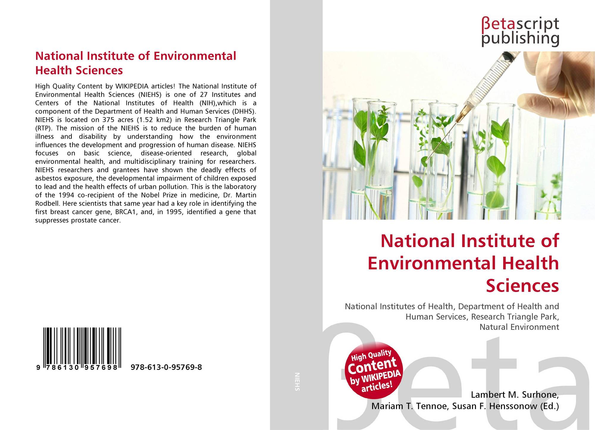 Bookcover Of National Institute Environmental Health Sciences