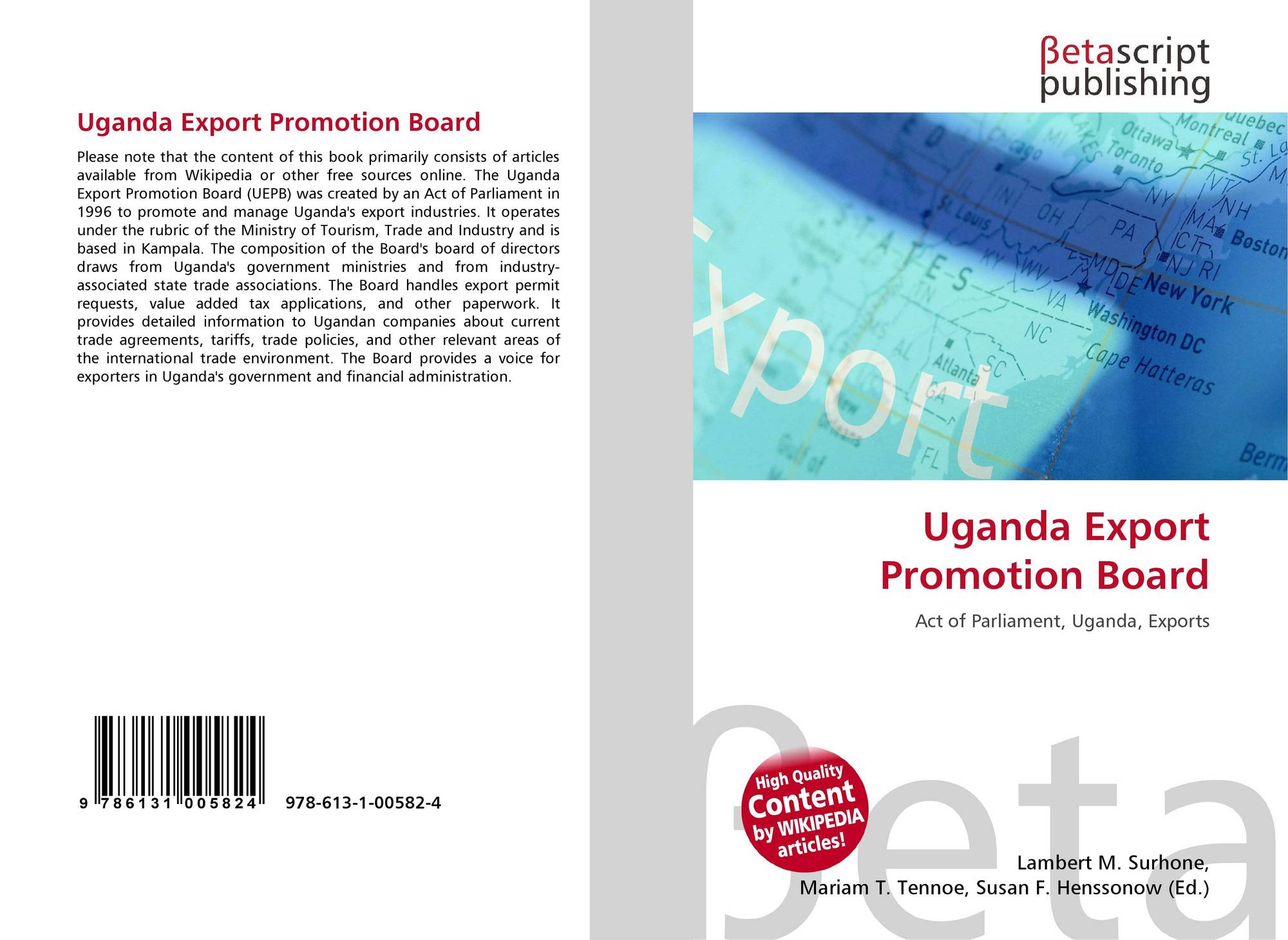 Uganda Export Promotion Board, 978-613-1-00582-4, 6131005826