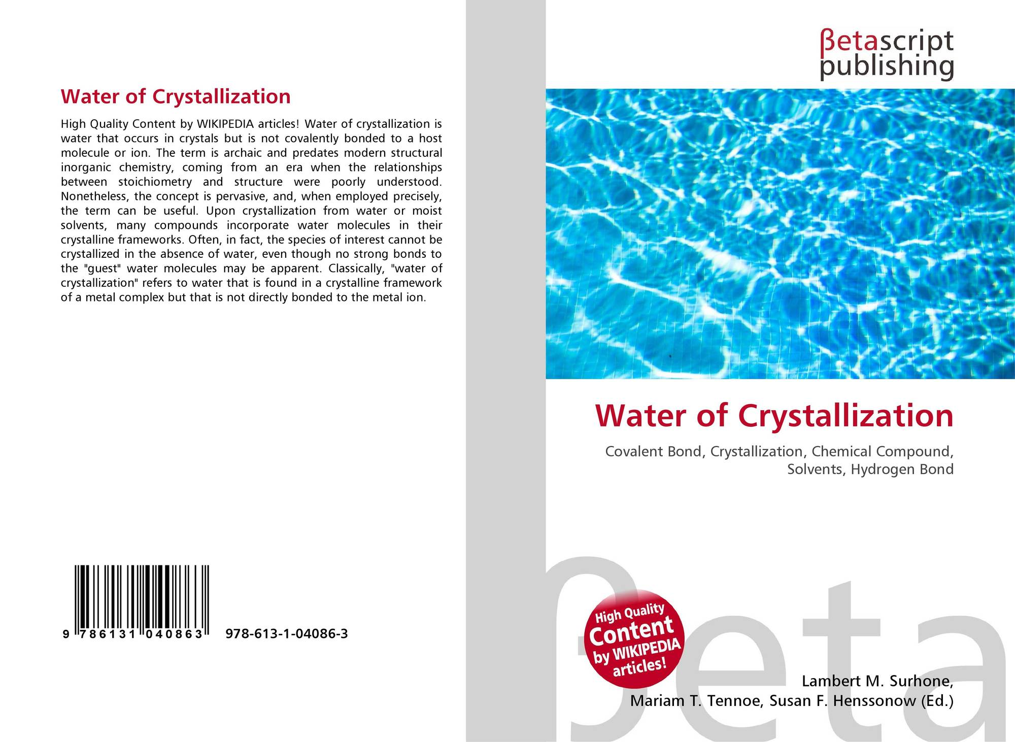 Water of Crystallization, 978-613-1-04086-3, 6131040869