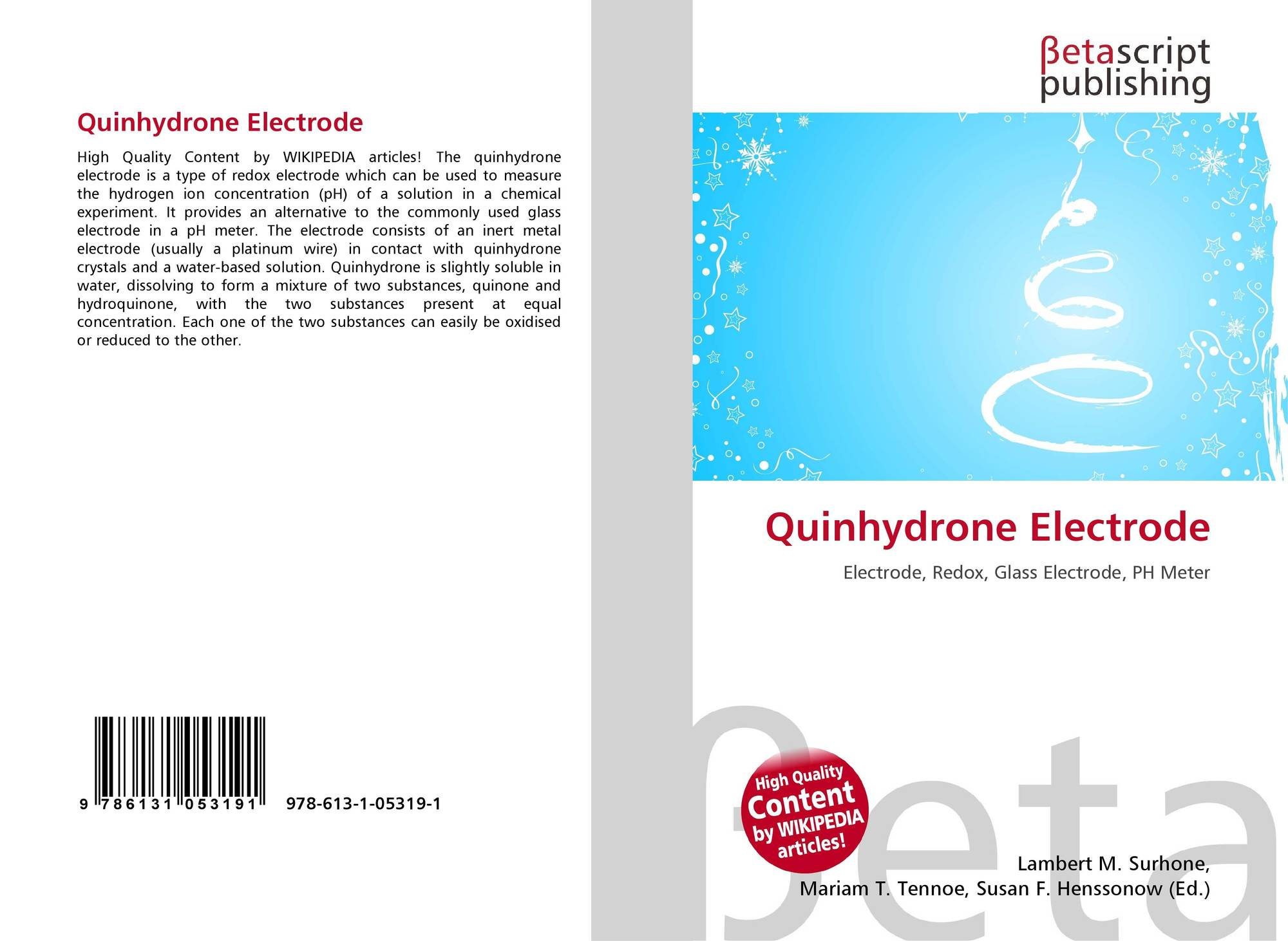 Quinhydrone Electrode, 978-613-1-05319-1, 6131053197 ,9786131053191
