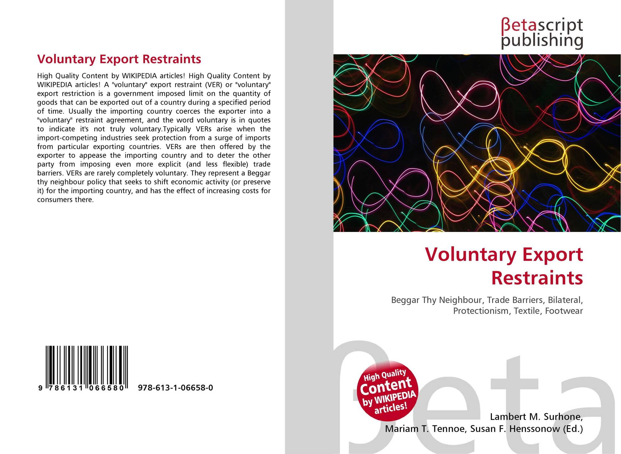 Voluntary Export Restraints 978 613 1 06658 0 6131066582