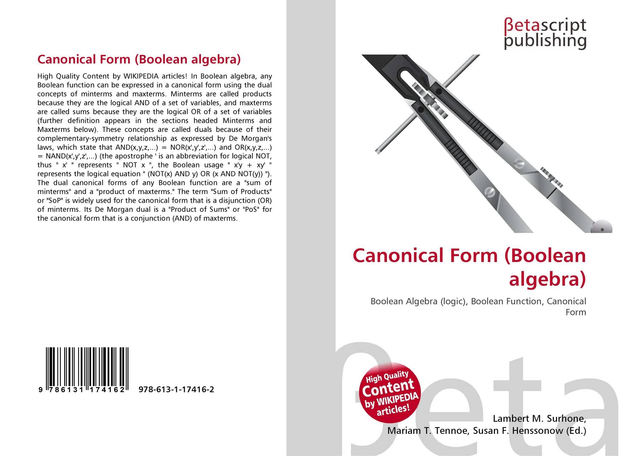 Canonical Form Boolean Algebra 978 613 1 17416 2 6131174164 Logic 9786131174162