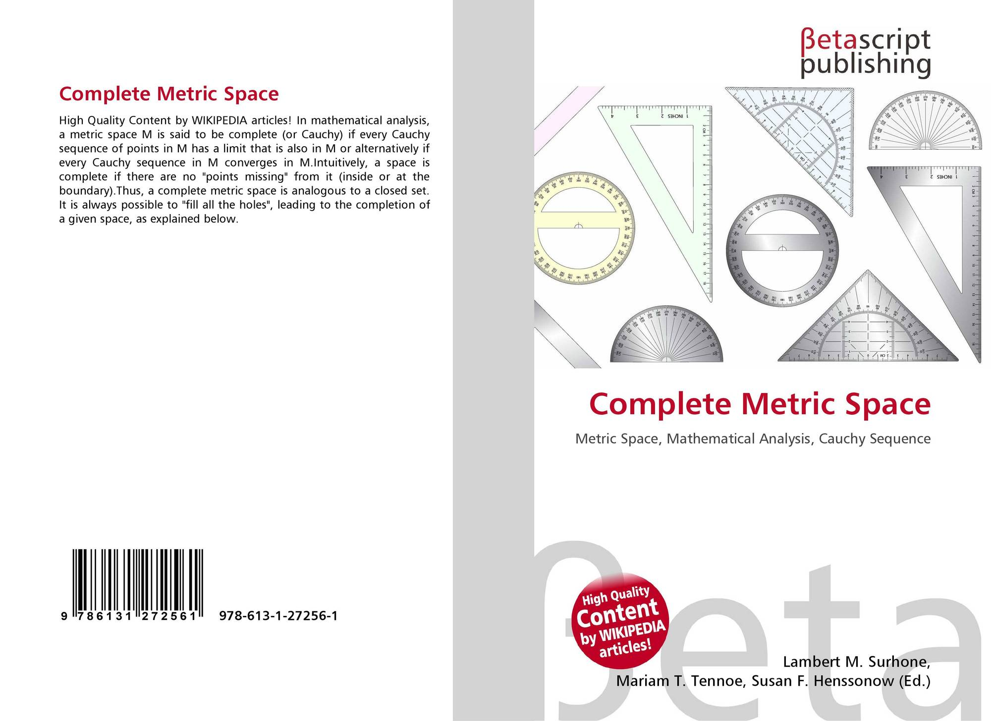 Complete Metric Space 978 613 1 27256 1 6131272565 9786131272561