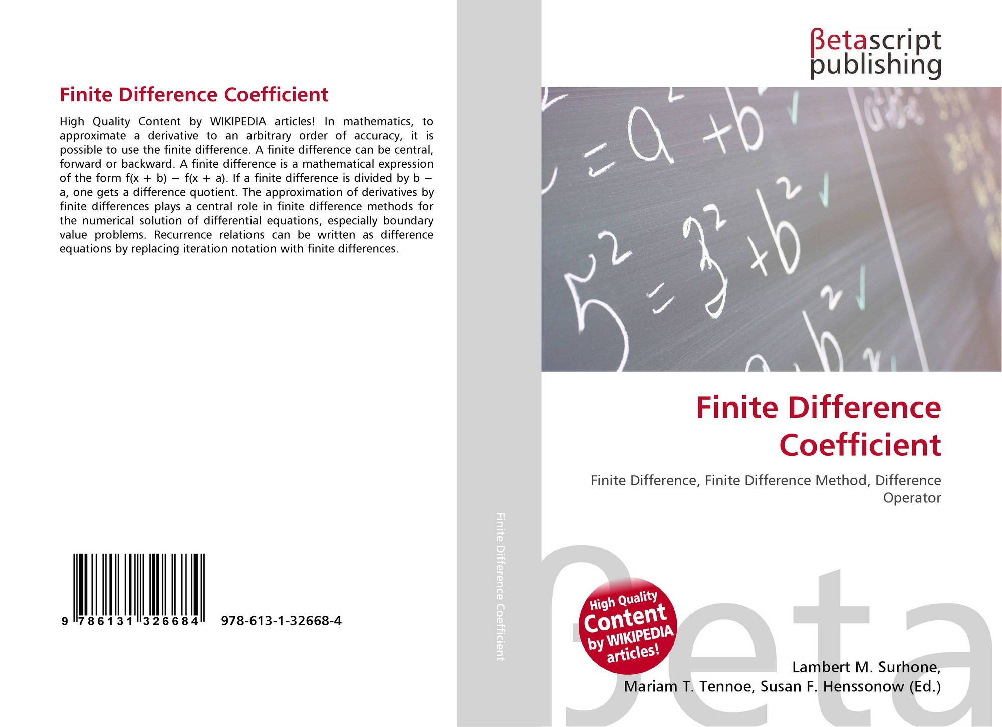 Finite Difference Coefficient, 978-613-1-32668-4, 6131326681